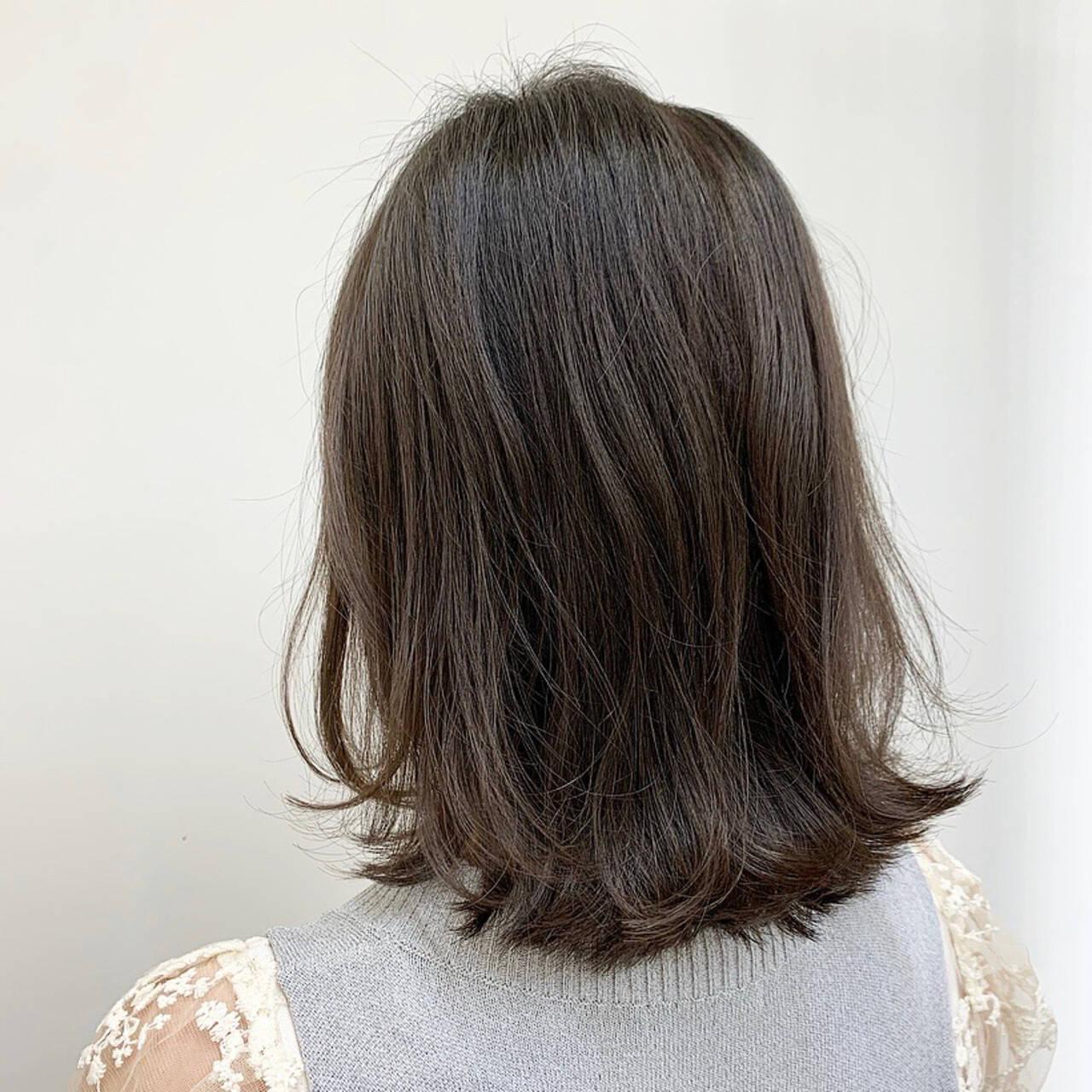 ミディアム ふんわり 可愛い ワンレンベースヘアスタイルや髪型の写真・画像
