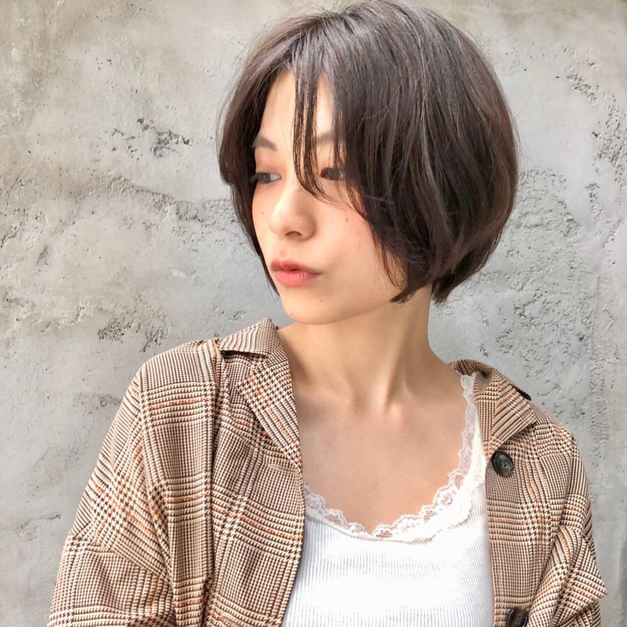 インナーカラー ナチュラル ミニボブ ショートヘアヘアスタイルや髪型の写真・画像