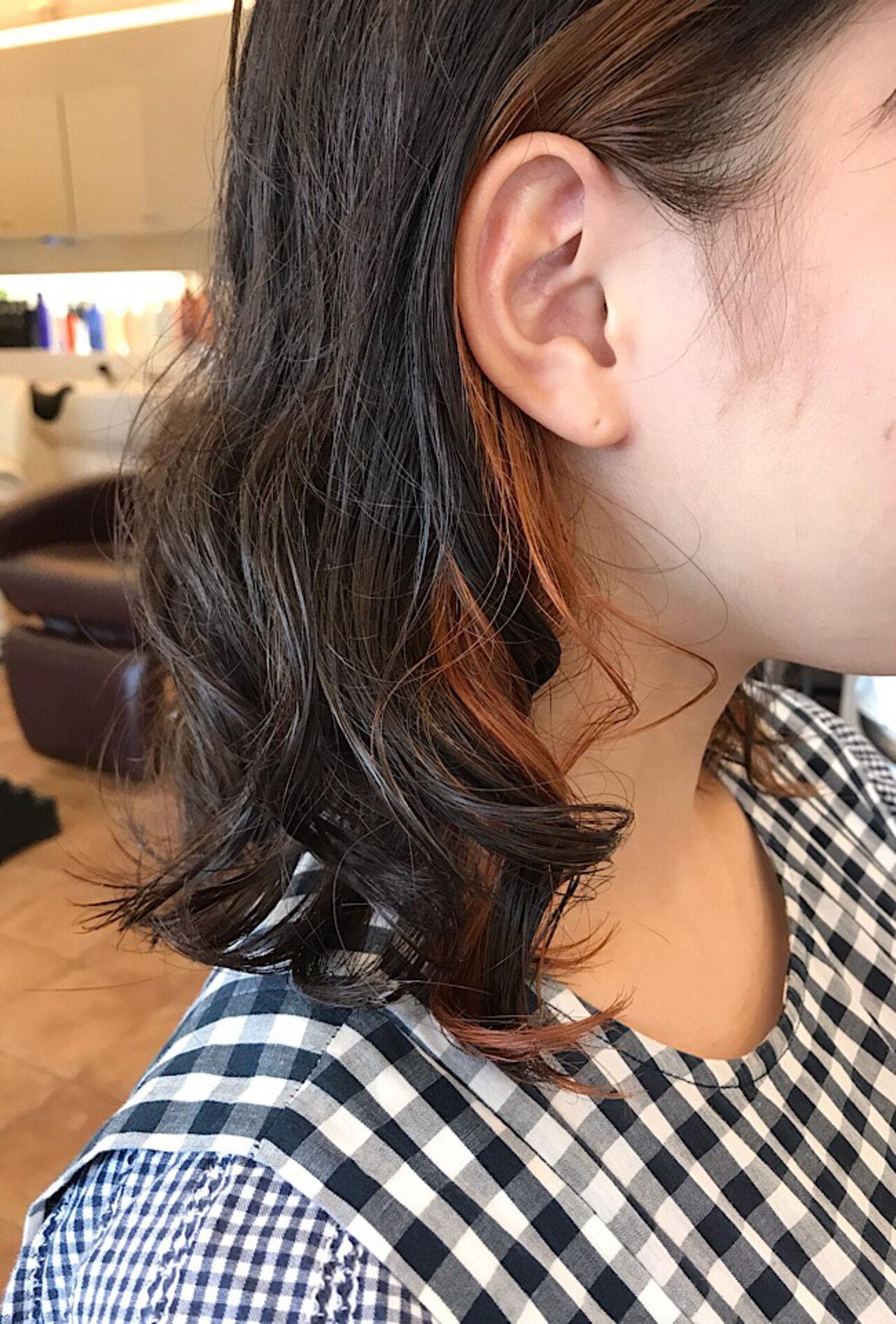 3Dハイライト ミディアム インナーカラー ツヤ髪ヘアスタイルや髪型の写真・画像
