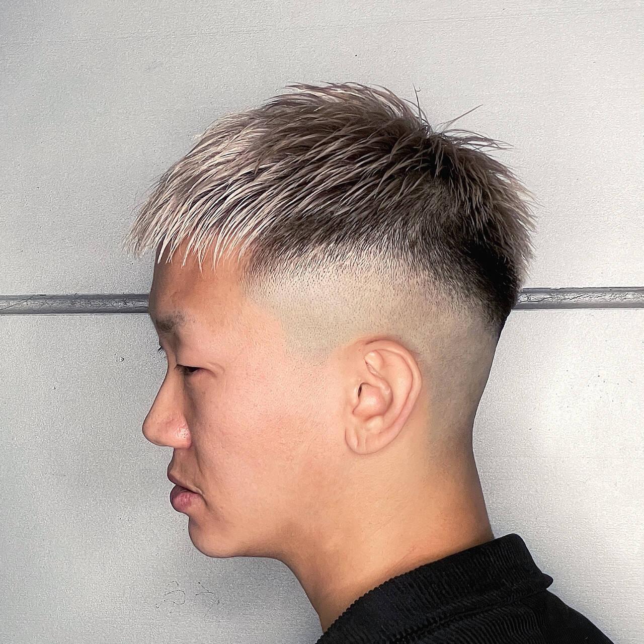 ショート メンズヘア フェードカット スキンフェードヘアスタイルや髪型の写真・画像