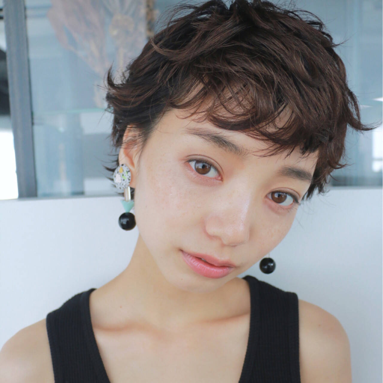 暗髪 ベリーショート ナチュラル ショートヘアスタイルや髪型の写真・画像