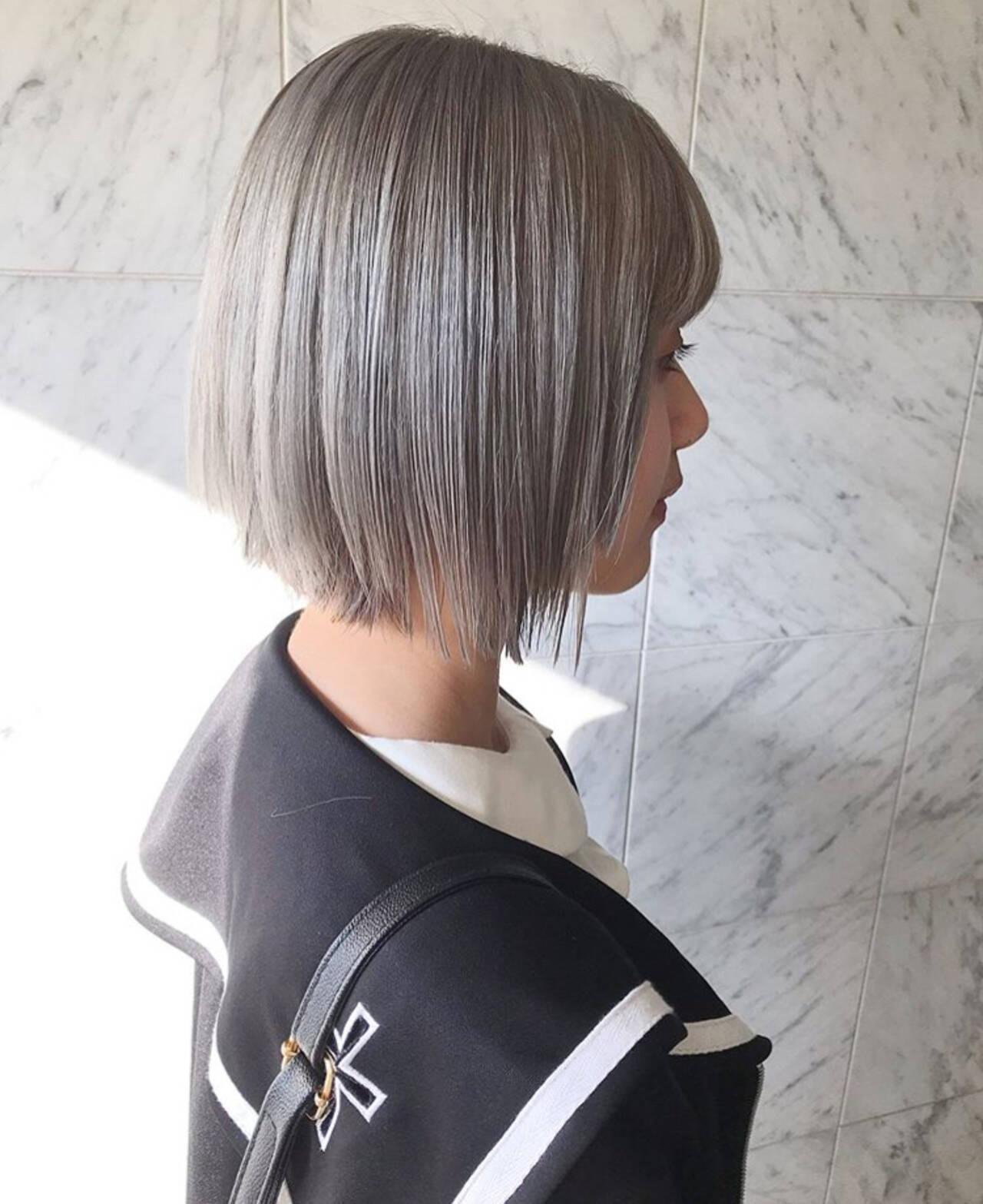 ハイトーン ブリーチ ボブ モードヘアスタイルや髪型の写真・画像