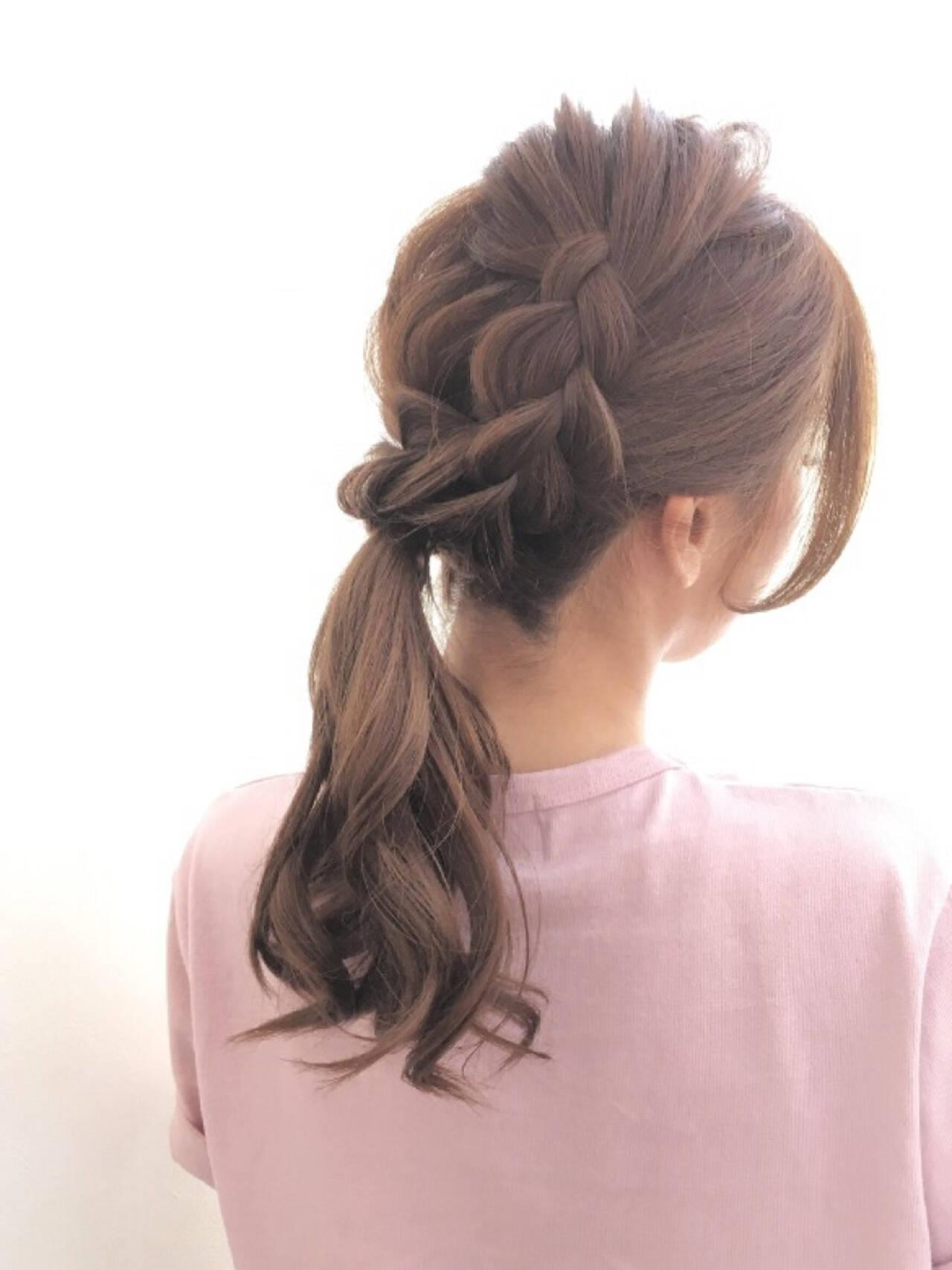 ヘアアレンジ ポニーテール フェミニン 簡単ヘアアレンジヘアスタイルや髪型の写真・画像
