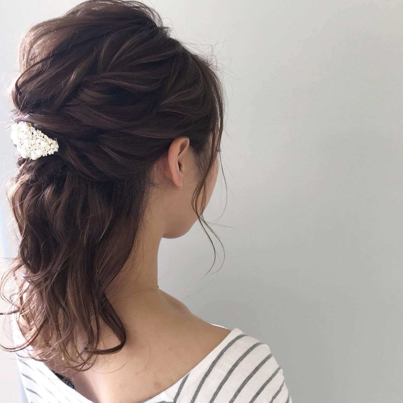 結婚式 ナチュラル ヘアアレンジ エフォートレスヘアスタイルや髪型の写真・画像