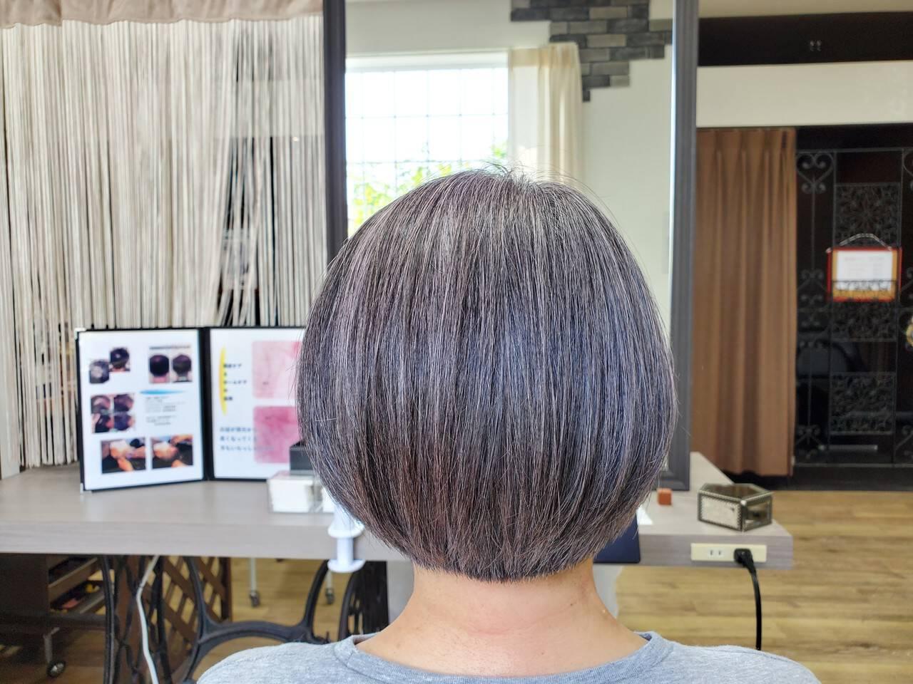 美髪 頭皮ケア 白髪染め ボブヘアスタイルや髪型の写真・画像