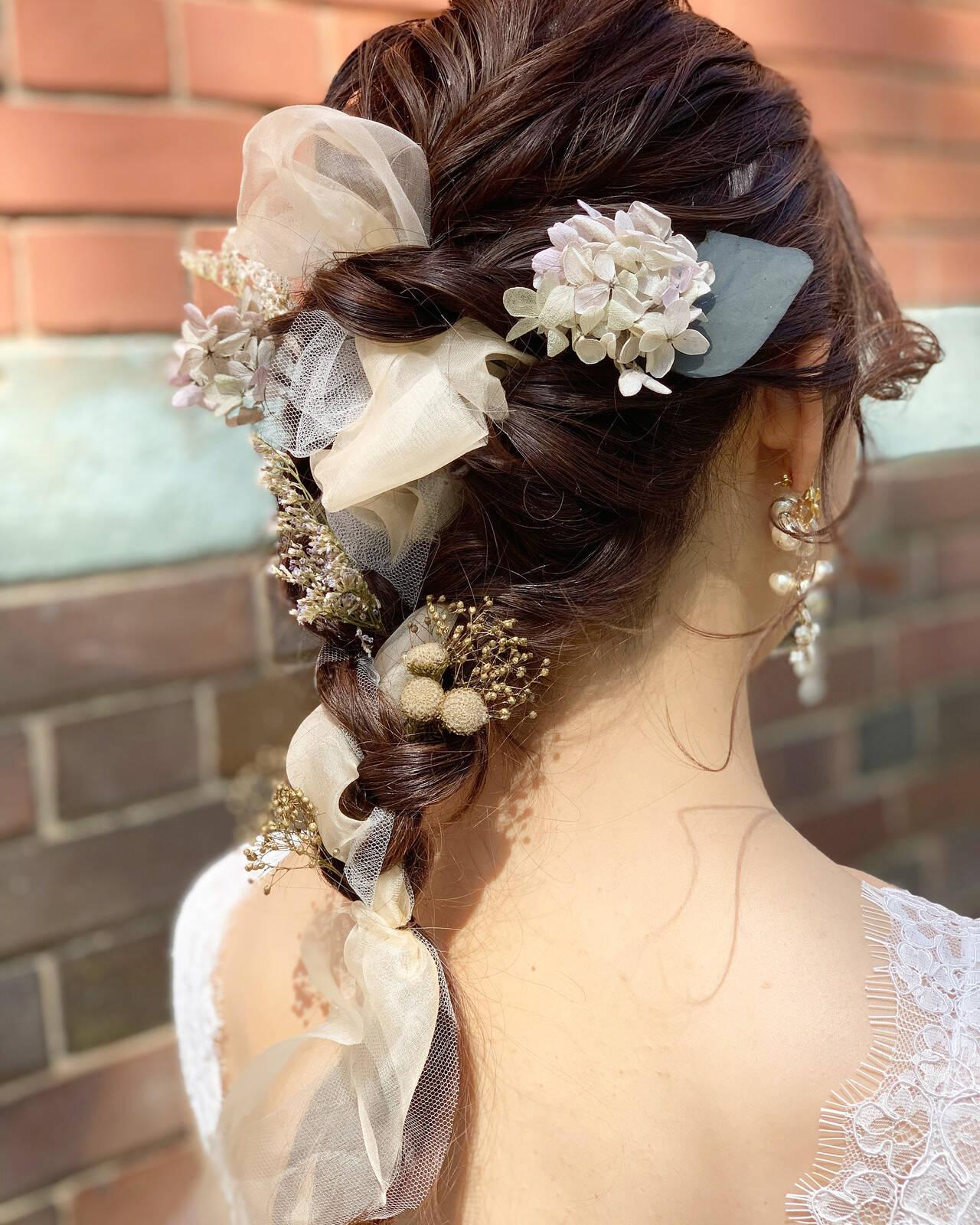 フェミニン ヘアアレンジ セミロングヘアスタイルや髪型の写真・画像