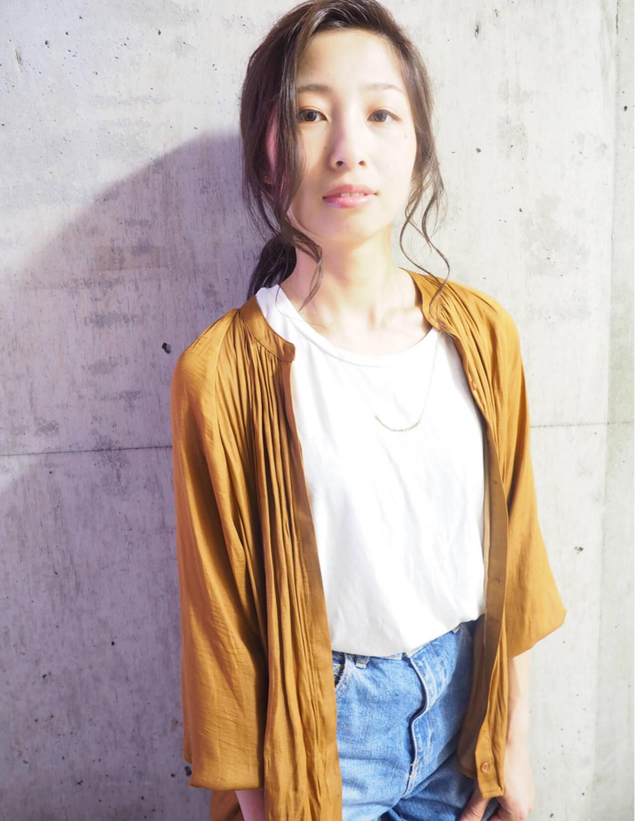 ミディアム 簡単ヘアアレンジ フェミニン ショートヘアスタイルや髪型の写真・画像