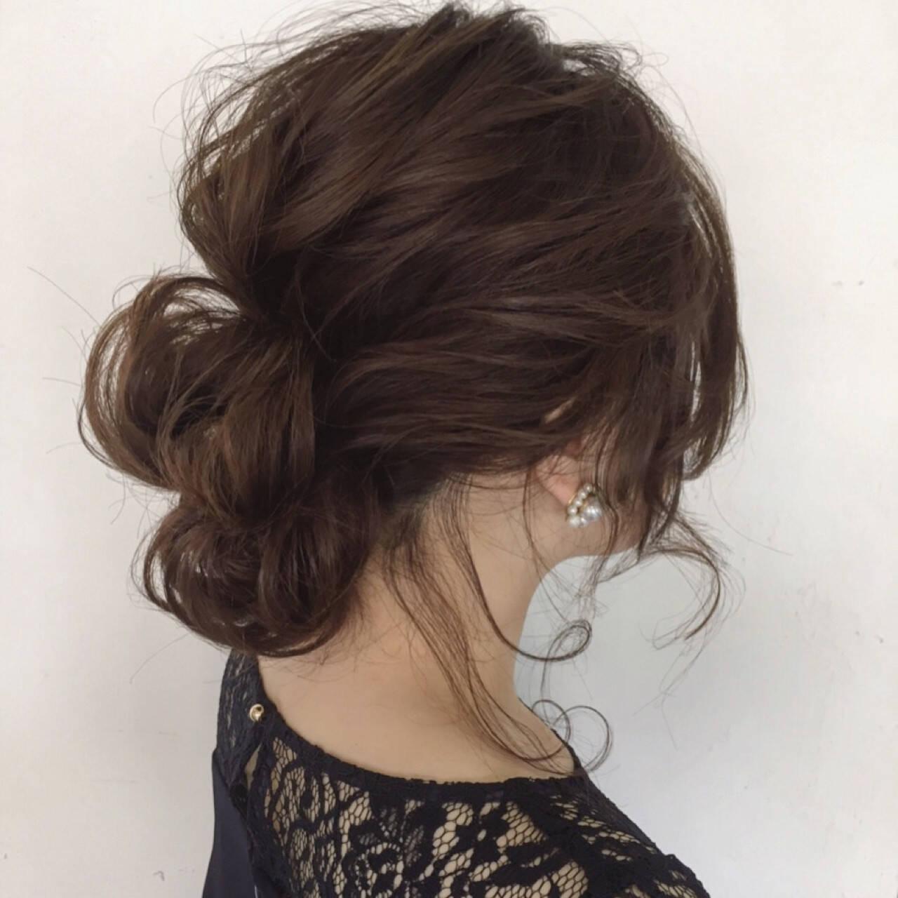 ナチュラル 結婚式 ミディアム 女子会ヘアスタイルや髪型の写真・画像