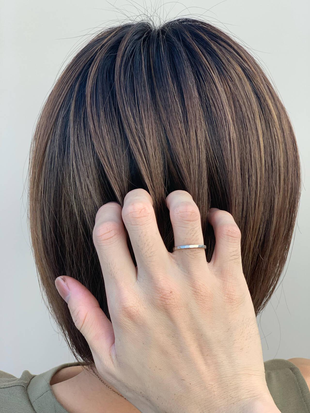 ボブ 外国人風 グラデーションカラー 大人ハイライトヘアスタイルや髪型の写真・画像