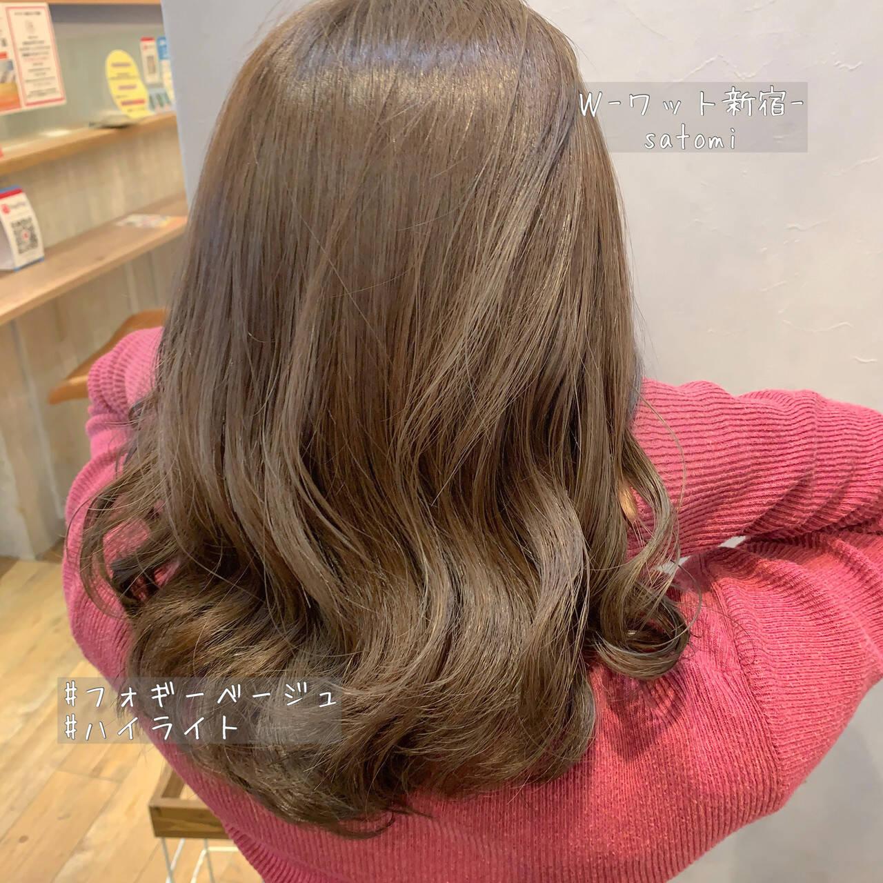 極細ハイライト セミロング ガーリー 愛されヘアスタイルや髪型の写真・画像