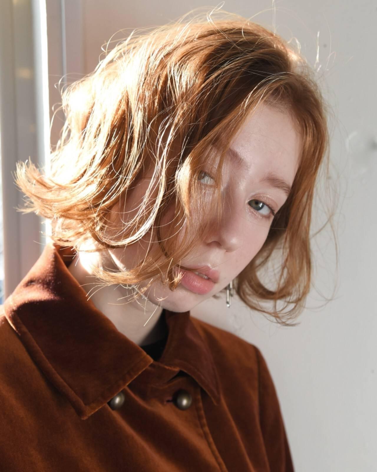 外国人風 ボブ パーマ ナチュラルヘアスタイルや髪型の写真・画像