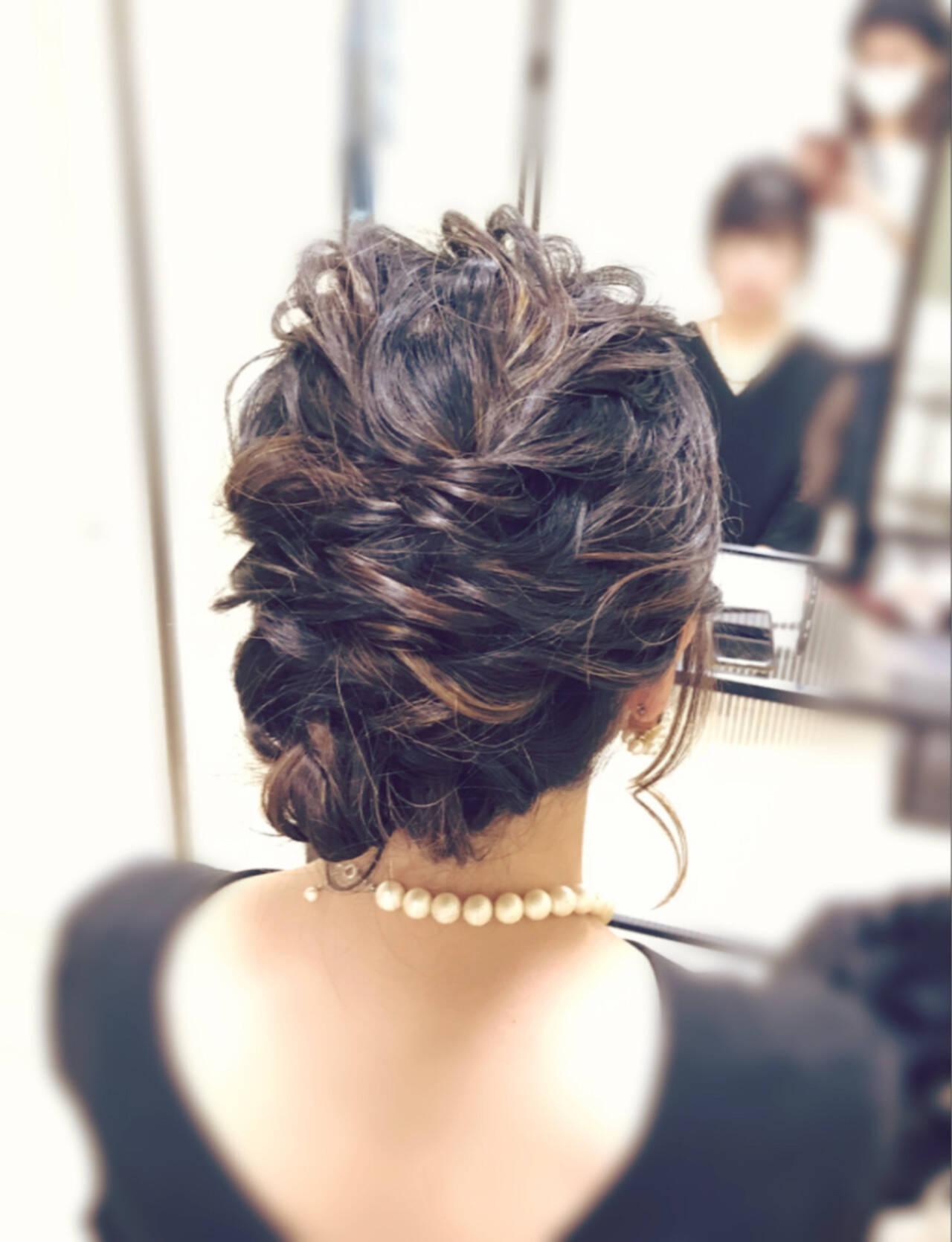結婚式 コンサバ ヘアアレンジ ミディアムヘアスタイルや髪型の写真・画像