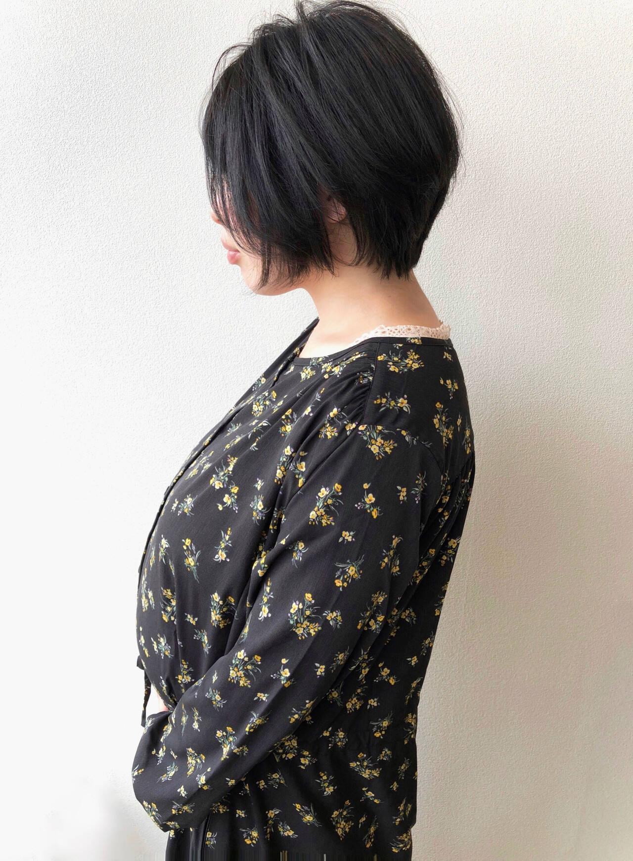 黒髪ショート 大人ショート 黒髪 ショートボブヘアスタイルや髪型の写真・画像