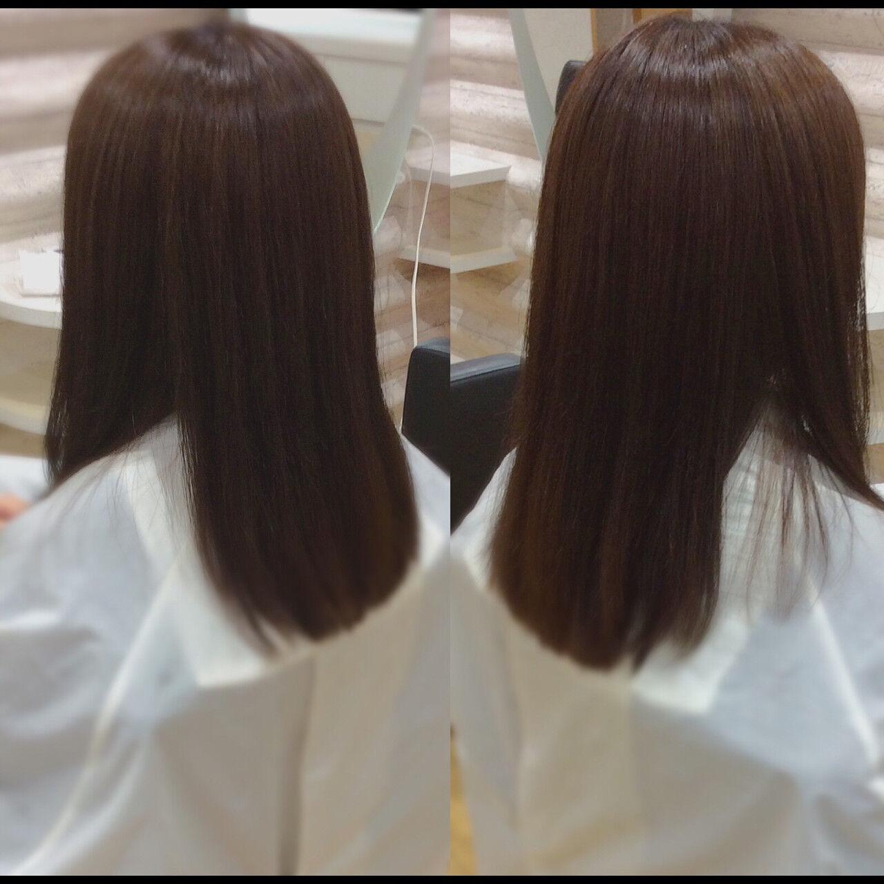 髪質改善カラー 髪質改善トリートメント ロングヘア ナチュラルヘアスタイルや髪型の写真・画像