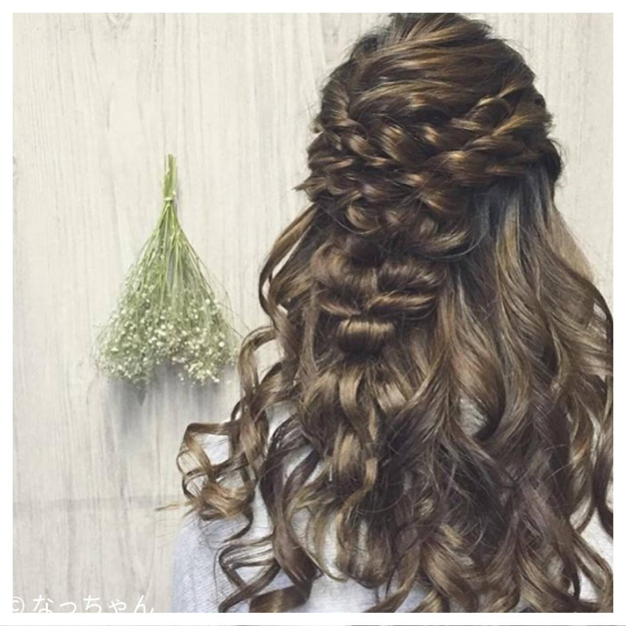 ヘアアレンジ ハーフアップ 結婚式 お呼ばれヘアスタイルや髪型の写真・画像