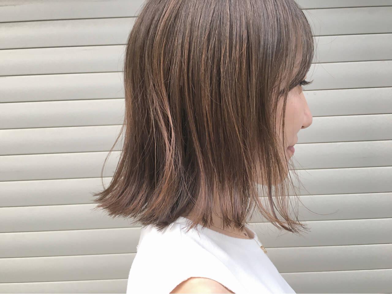 ハイライト 秋 ボブ リラックスヘアスタイルや髪型の写真・画像