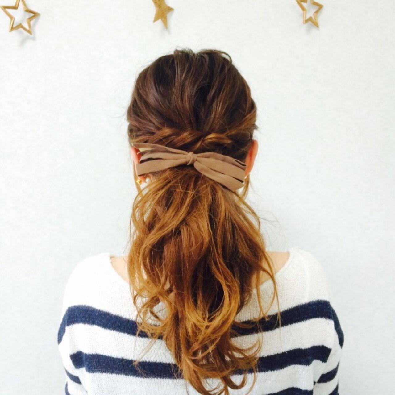 ショート ヘアアレンジ ロング 簡単ヘアアレンジヘアスタイルや髪型の写真・画像