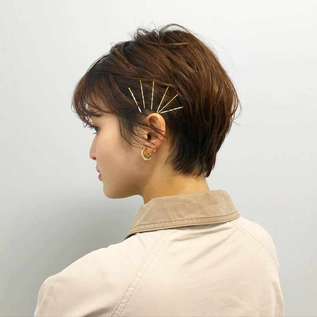 簡単ヘアアレンジ ヘアピン ショートヘアアレンジ ヘアアレンジヘアスタイルや髪型の写真・画像