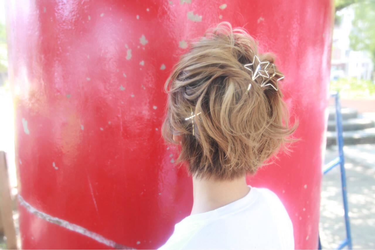色気 ショート ヘアアレンジ ストリートヘアスタイルや髪型の写真・画像