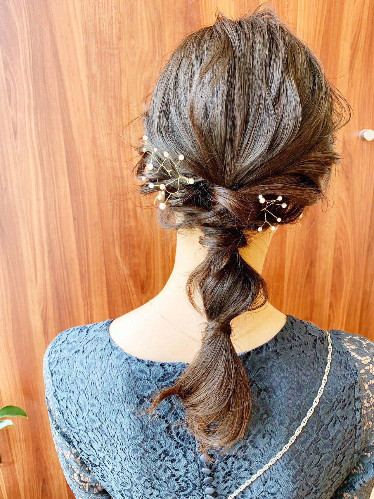 ヘアアクセサリー 編みおろし ヘアアレンジ お呼ばれヘアヘアスタイルや髪型の写真・画像