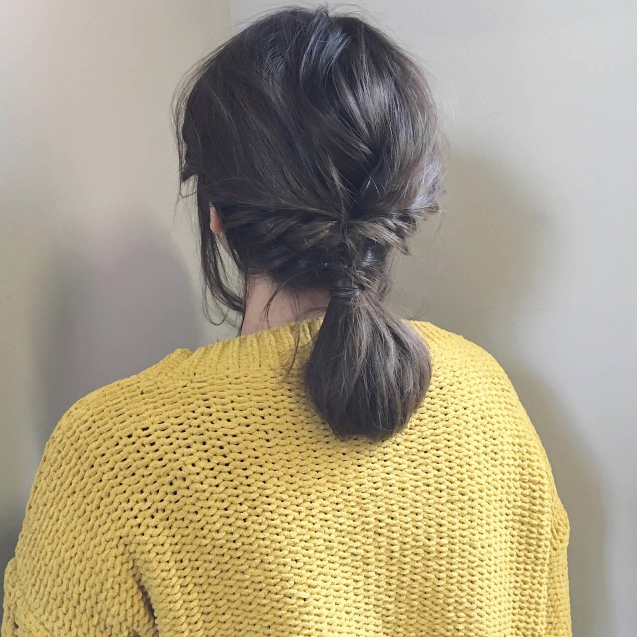 ヘアアレンジ 簡単ヘアアレンジ ナチュラル ミディアムヘアスタイルや髪型の写真・画像