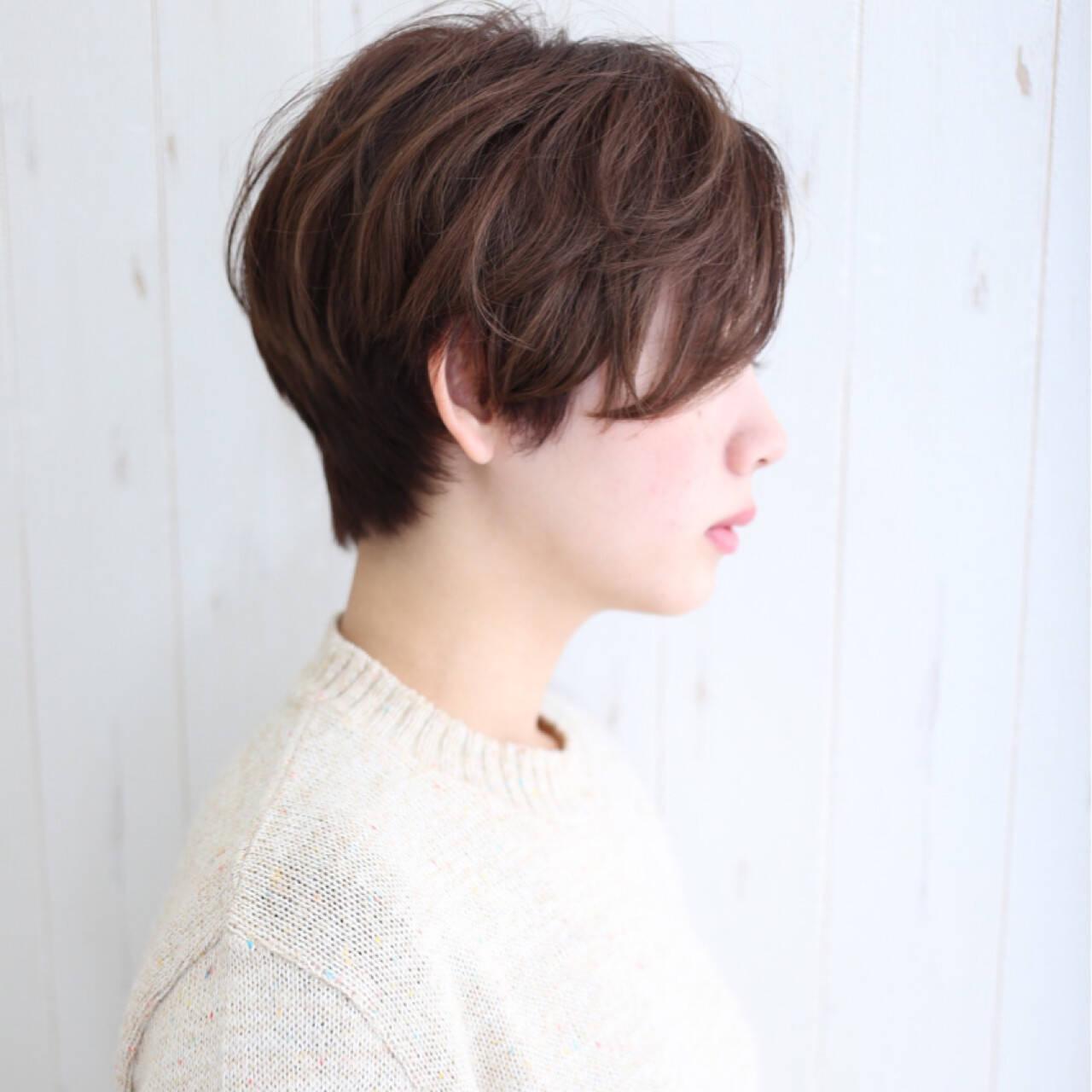 大人女子 ショート ボブ 小顔ヘアスタイルや髪型の写真・画像