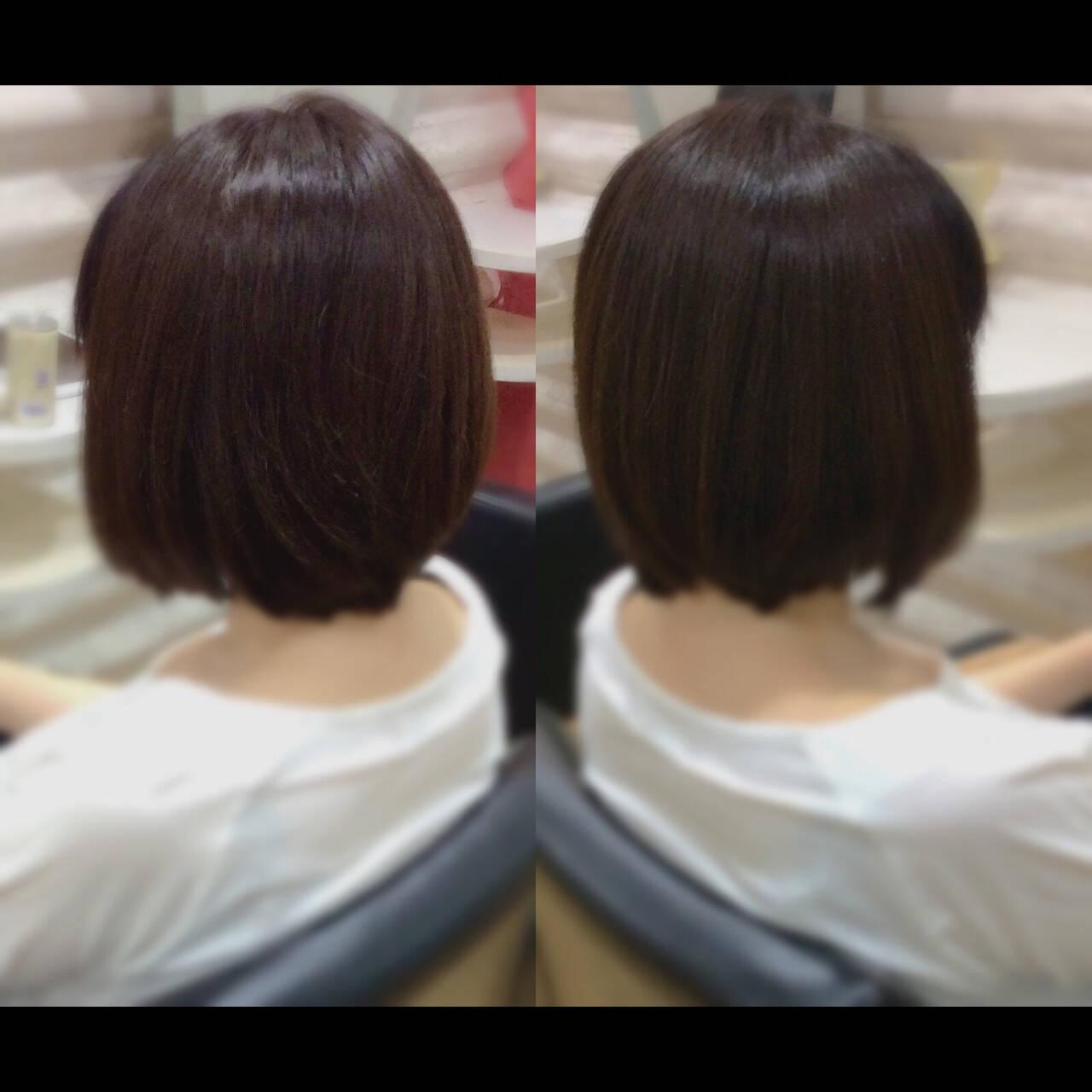 ボブ 髪質改善トリートメント 髪質改善カラー 髪質改善ヘアスタイルや髪型の写真・画像