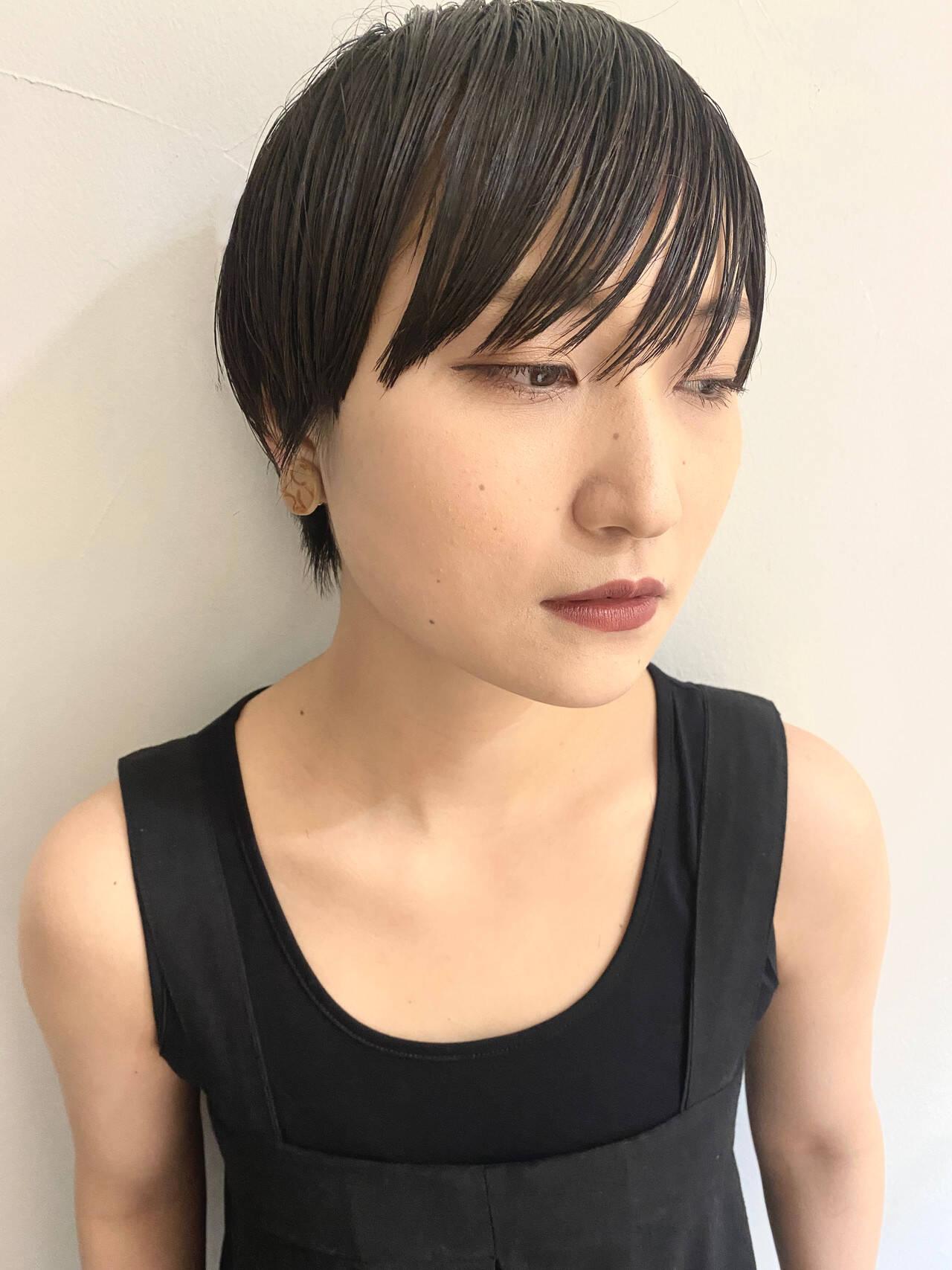 ハンサムショート マッシュショート 黒髪ショート ショートヘアスタイルや髪型の写真・画像