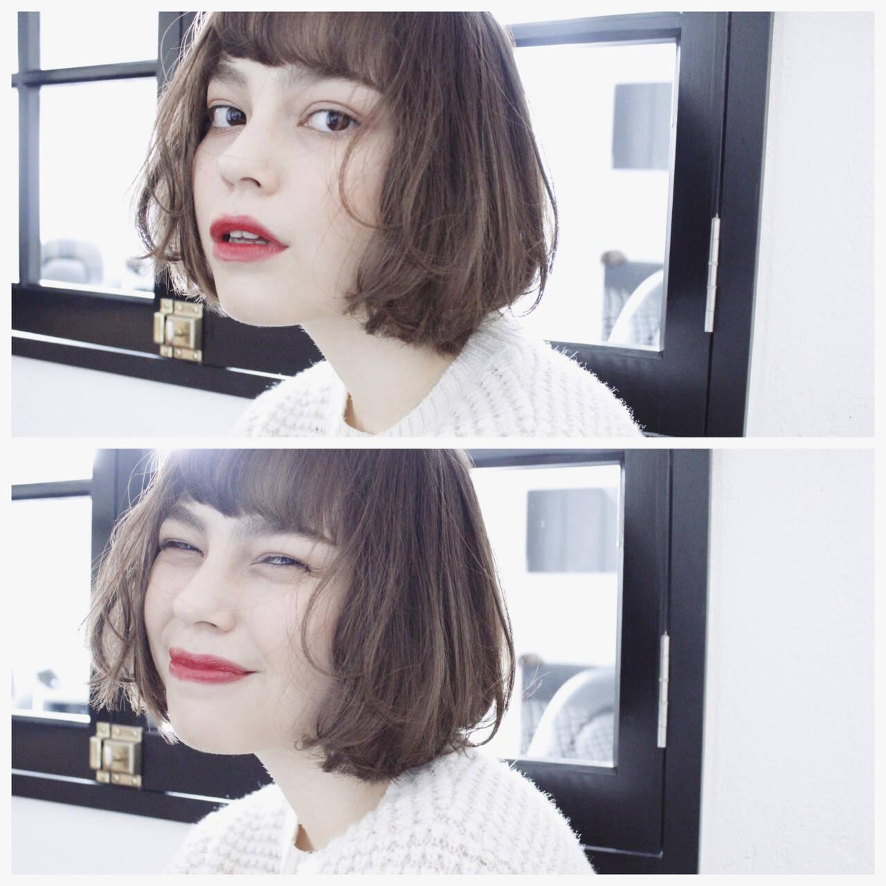 ボブ 色気 ニュアンス パーマヘアスタイルや髪型の写真・画像