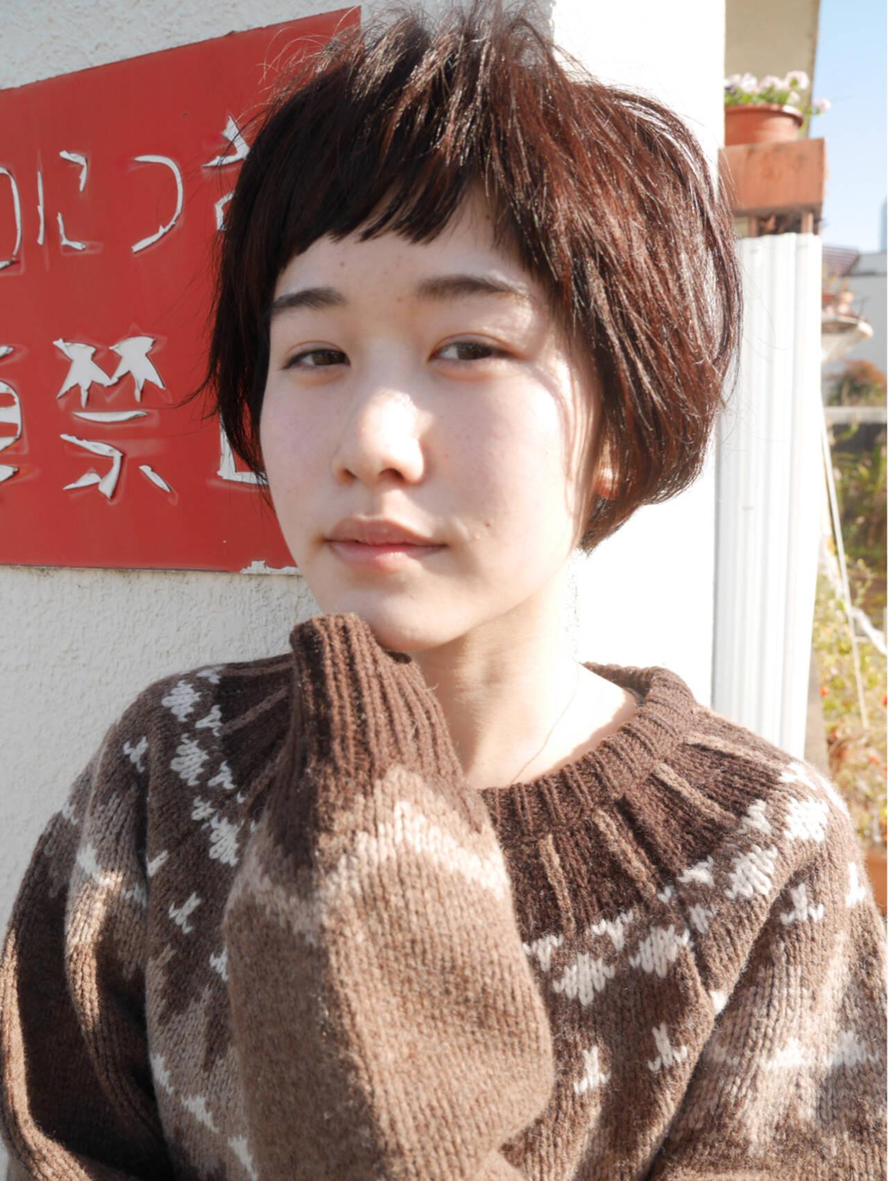 かわいい ナチュラル ショート 前髪ありヘアスタイルや髪型の写真・画像