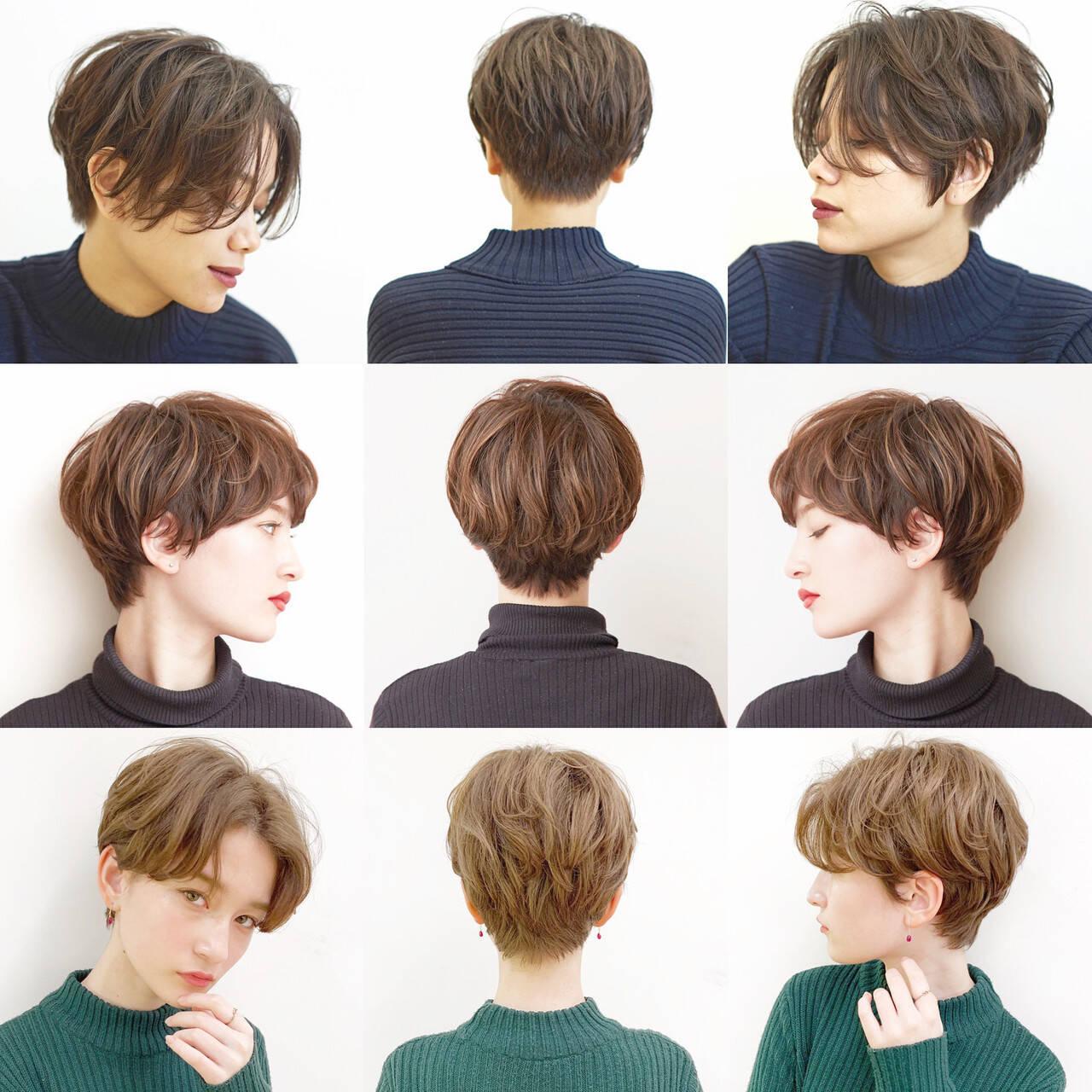 オフィス ハンサムショート デート ショートボブヘアスタイルや髪型の写真・画像