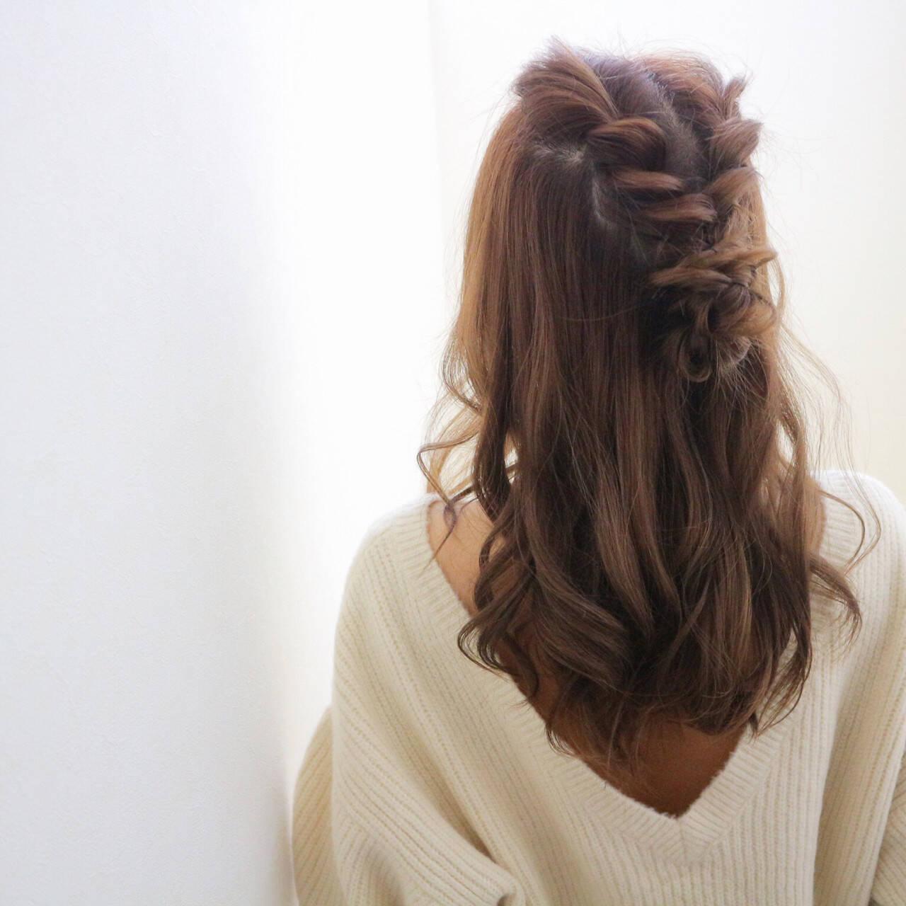 ガーリー ショート 簡単ヘアアレンジ ロングヘアスタイルや髪型の写真・画像