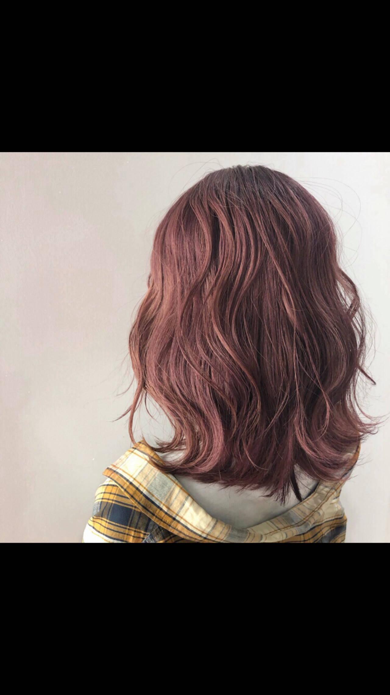 チェリーピンク ピンクベージュ ピンク ラベンダーピンクヘアスタイルや髪型の写真・画像