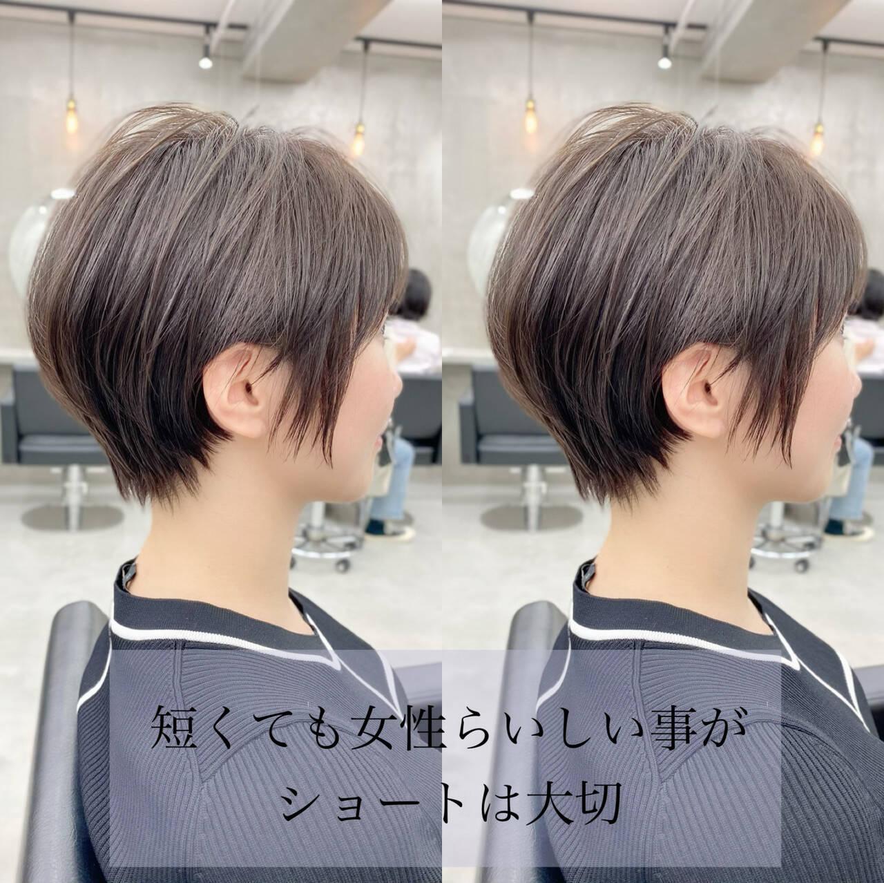 ショート ベリーショート ナチュラル インナーカラーヘアスタイルや髪型の写真・画像