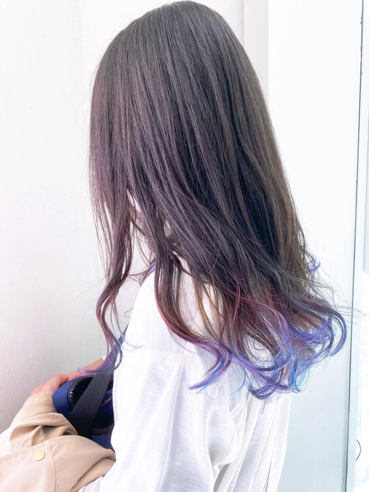 ウルフカット ショートボブ マーメイドアッシュ グラデーションカラーヘアスタイルや髪型の写真・画像