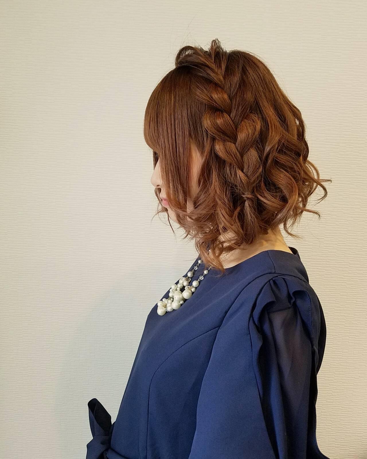 編み込み フェミニン ヘアアレンジ ボブヘアスタイルや髪型の写真・画像