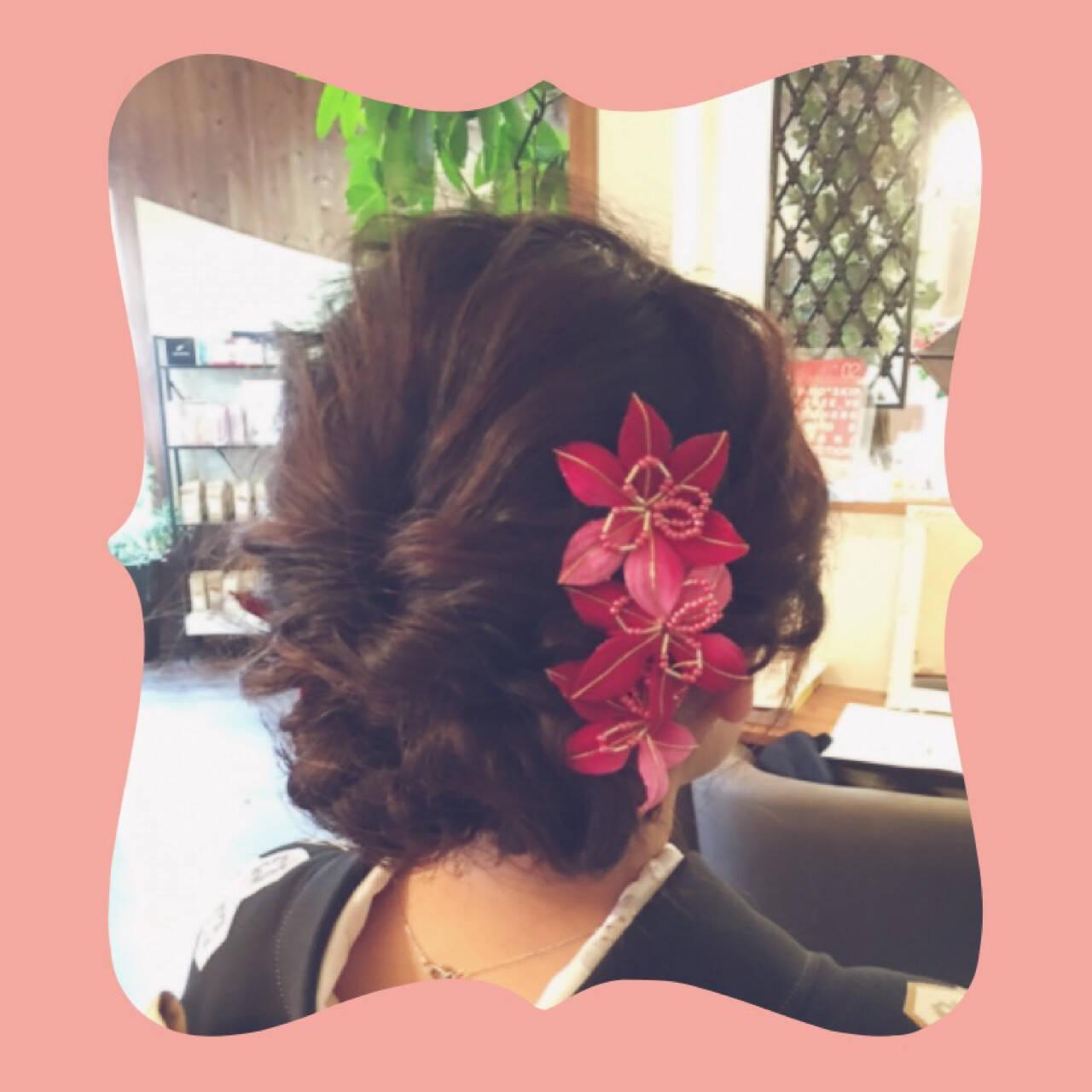 和装 編み込み セミロング 和服ヘアスタイルや髪型の写真・画像