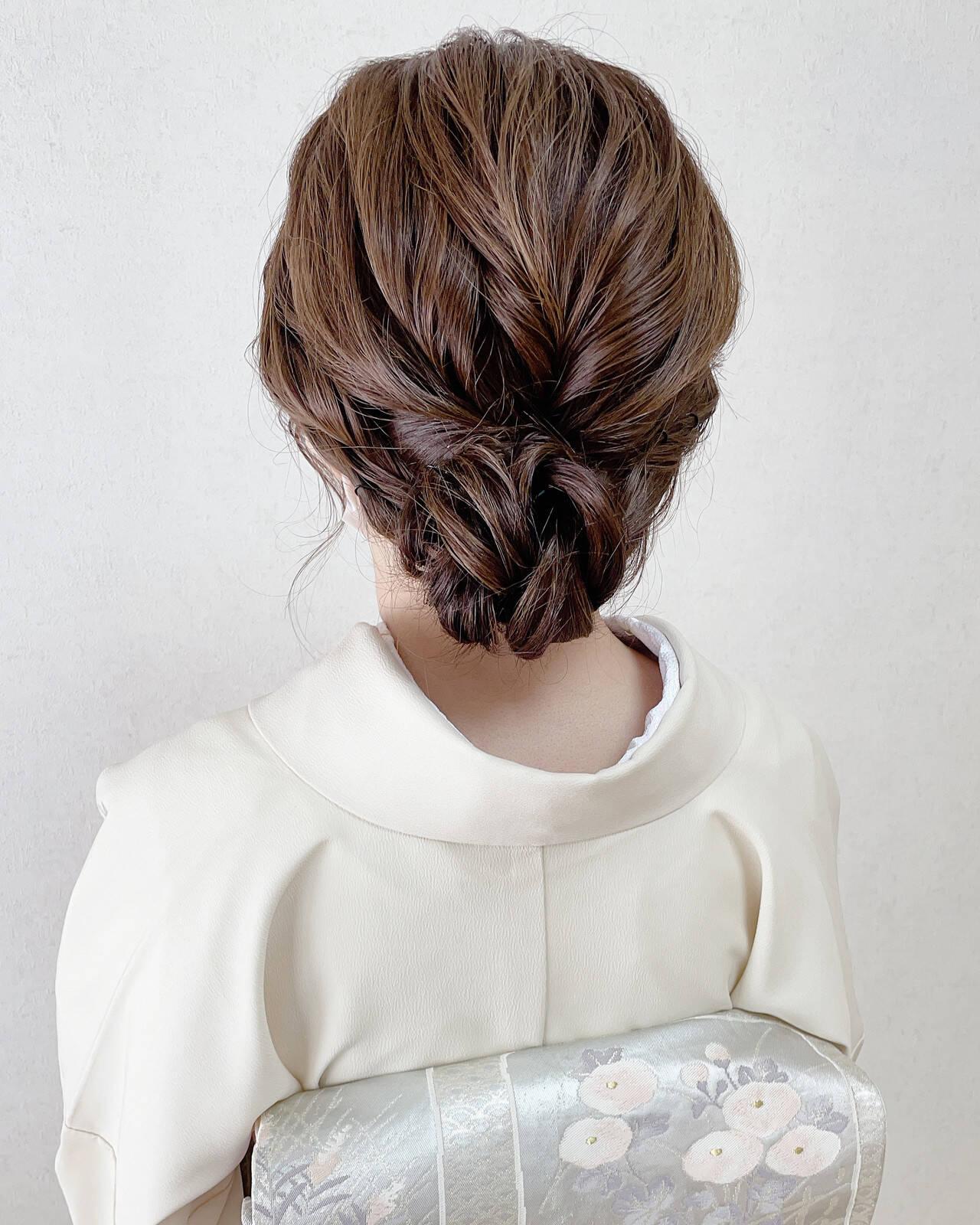 結婚式 訪問着 和装ヘア エレガントヘアスタイルや髪型の写真・画像
