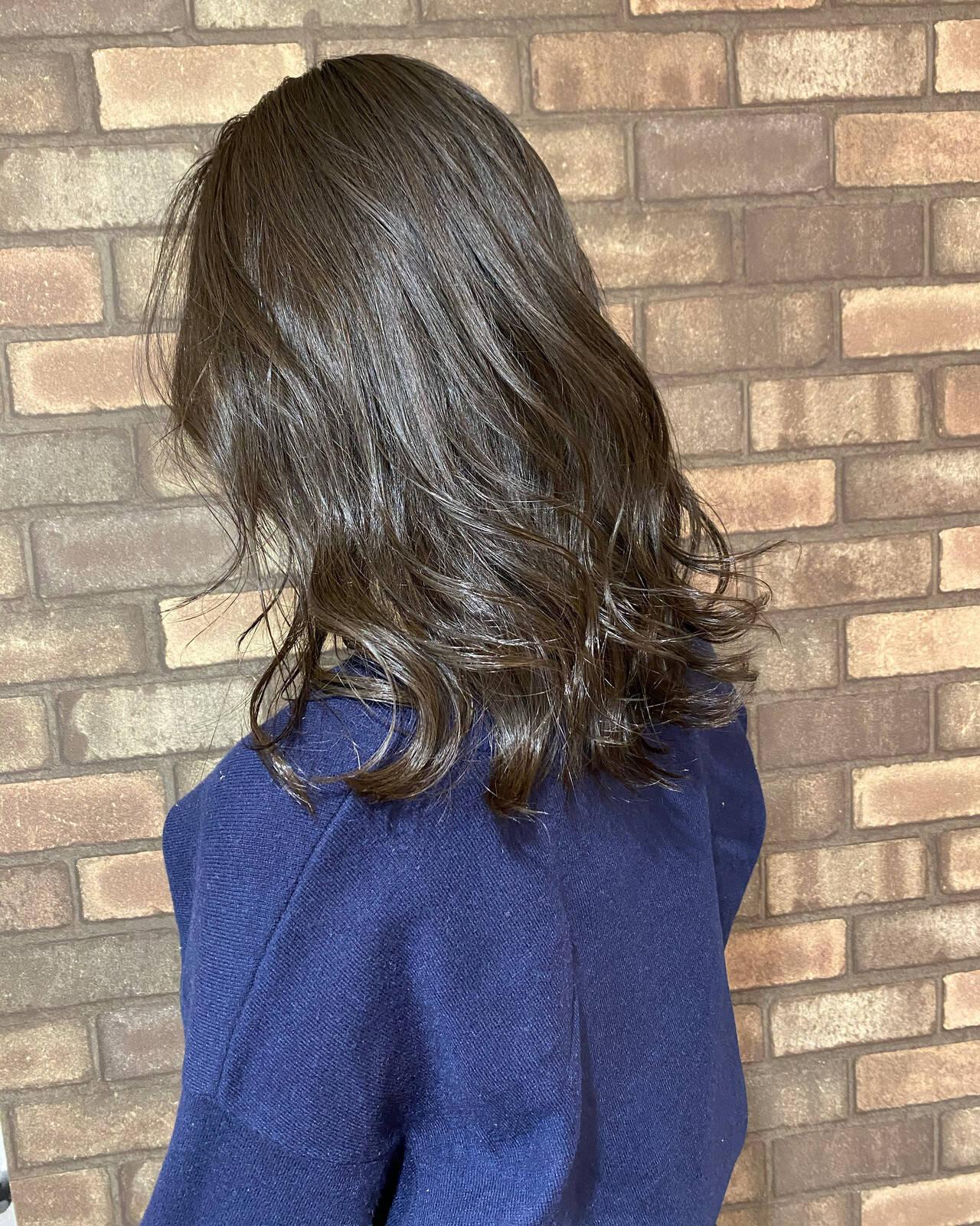イルミナカラー ナチュラル 透明感 ダークカラーヘアスタイルや髪型の写真・画像