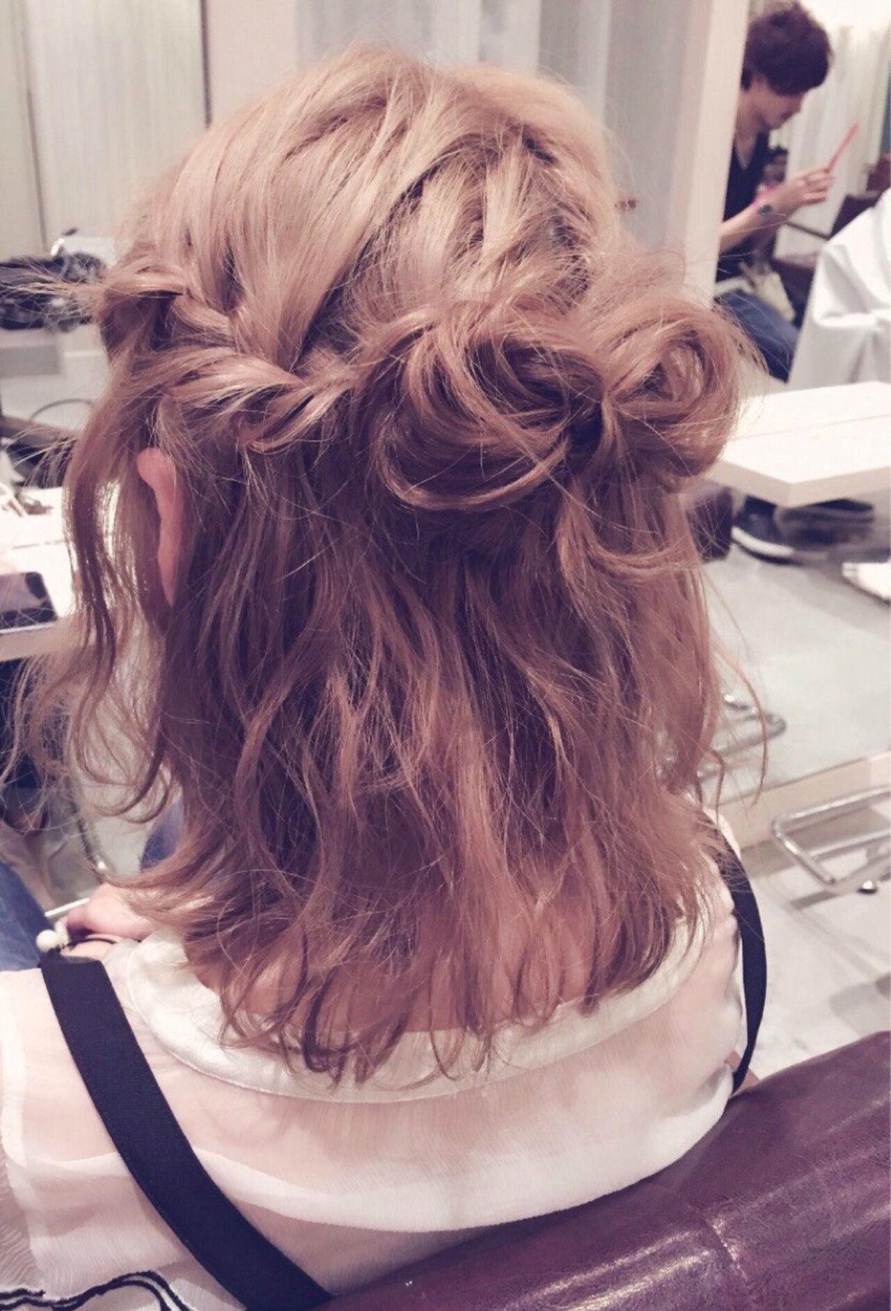 外国人風 ヘアアレンジ ブラウン ショートヘアスタイルや髪型の写真・画像