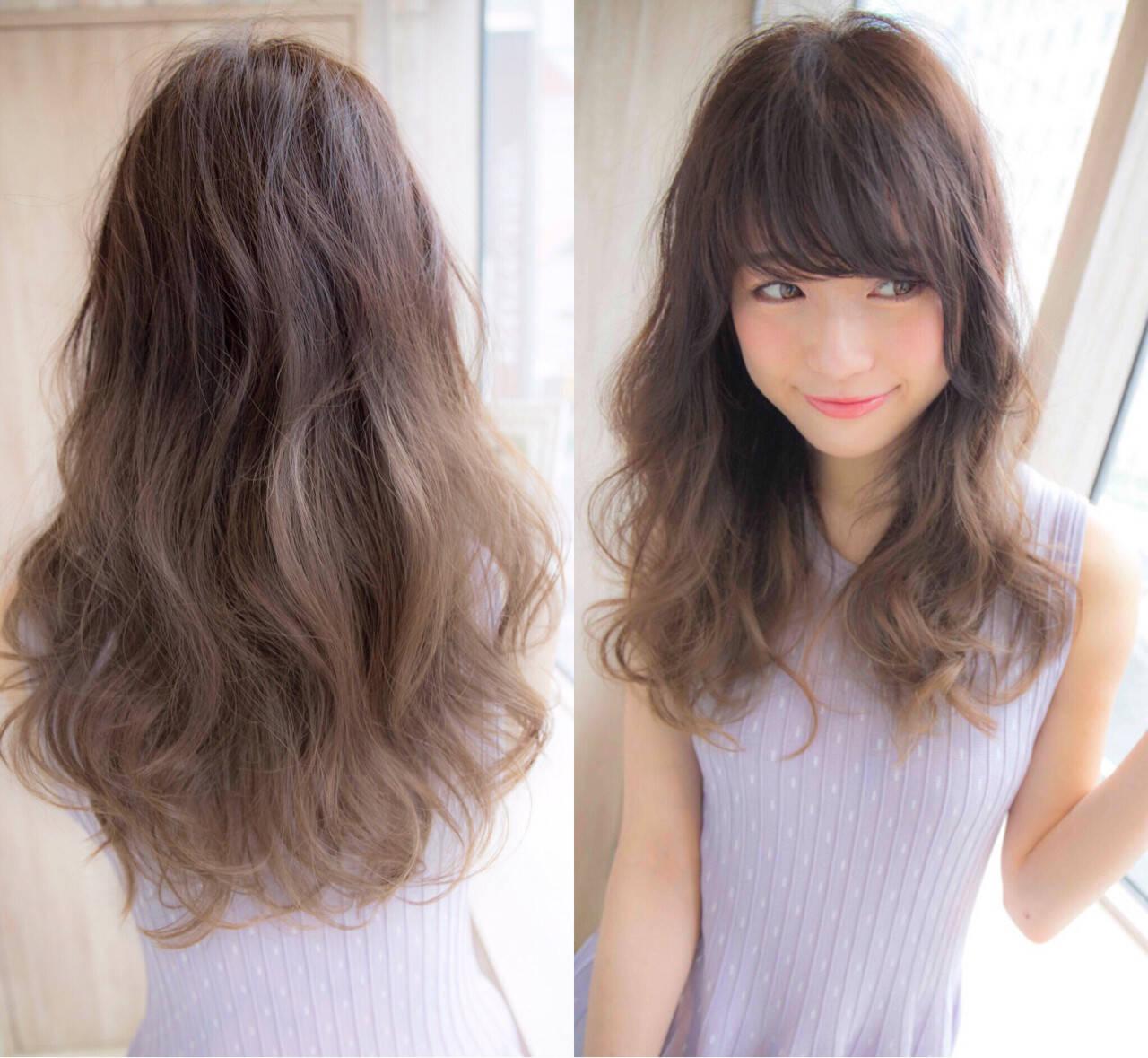 グラデーションカラー ガーリー ゆるふわ 前髪ありヘアスタイルや髪型の写真・画像