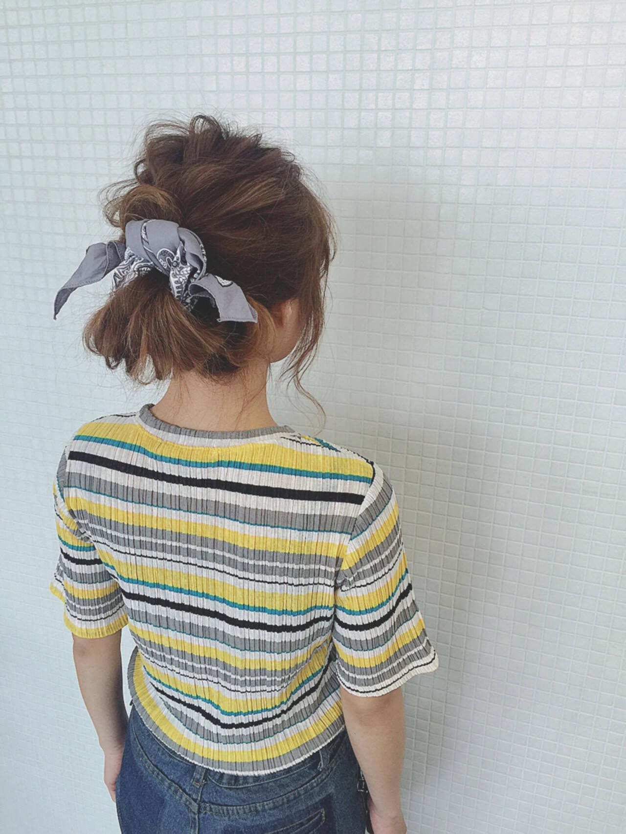 簡単ヘアアレンジ ロング ヘアアクセ ショートヘアスタイルや髪型の写真・画像
