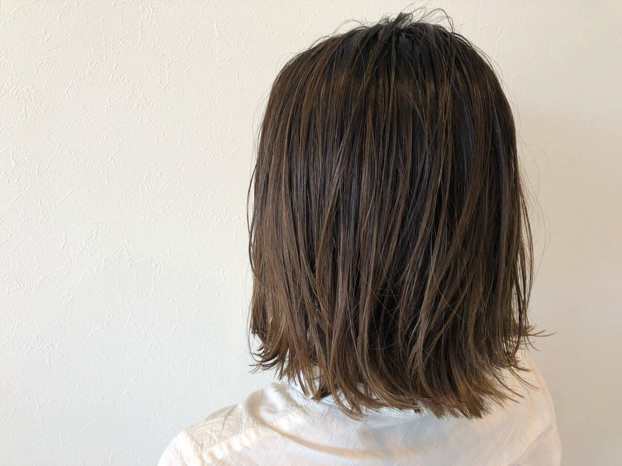 ヘアアレンジ 切りっぱなし ミディアム ボブヘアスタイルや髪型の写真・画像