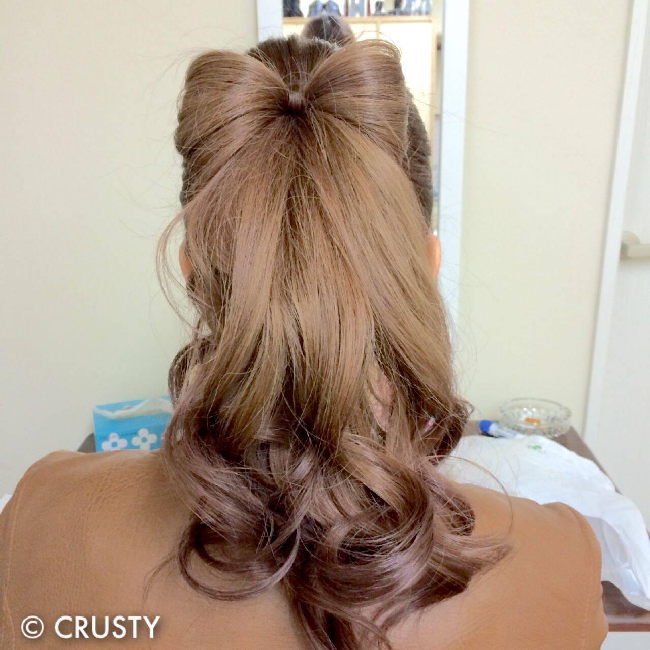 ロング 結婚式 ヘアアレンジ ポニーテールヘアスタイルや髪型の写真・画像