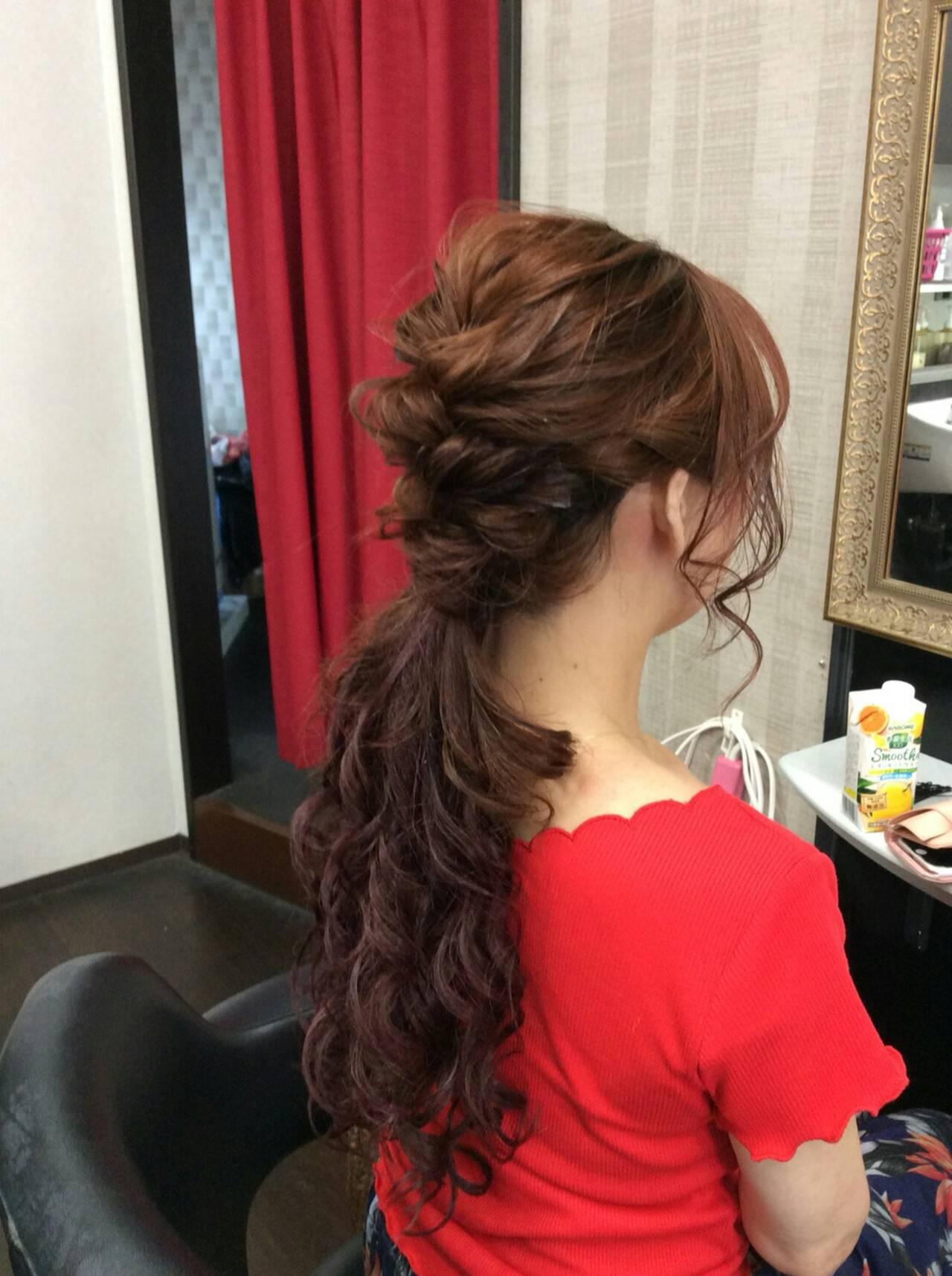ナチュラル ヘアアレンジ ロング ポンパドールヘアスタイルや髪型の写真・画像