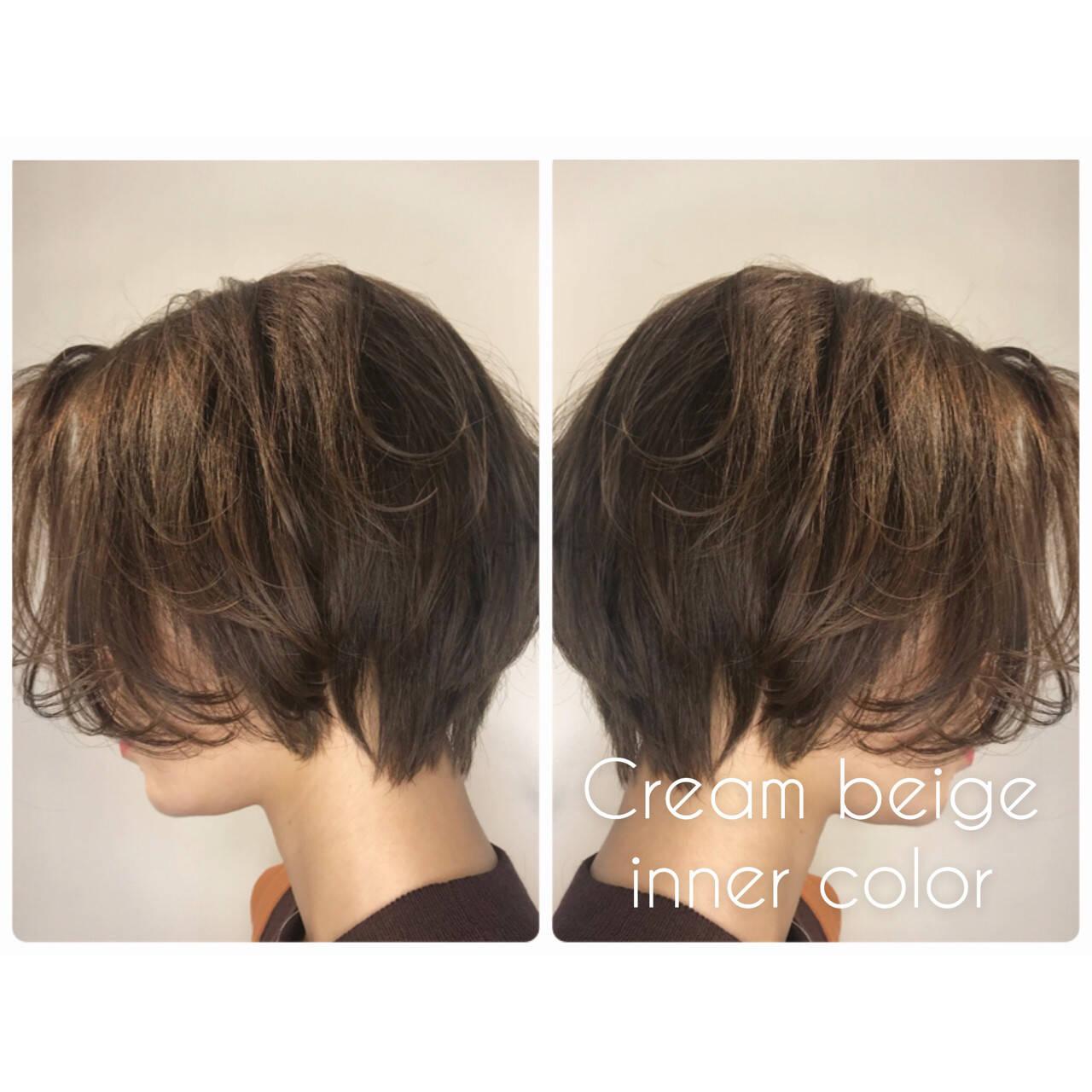 ショート モード ボブ ヌーディベージュヘアスタイルや髪型の写真・画像