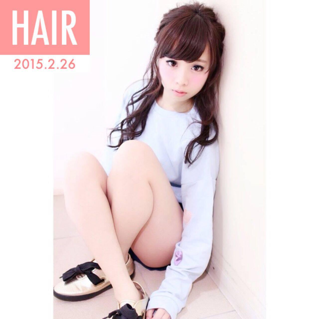 ハーフアップ ヘアアレンジ ショート 簡単ヘアアレンジヘアスタイルや髪型の写真・画像