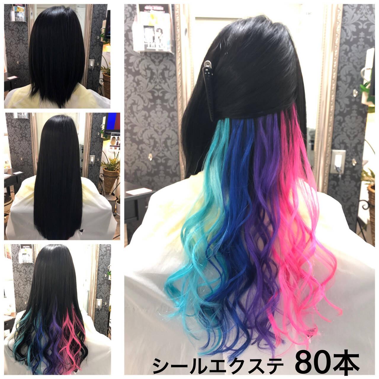 ピンク 前髪エクステ インナーカラーパープル セミロングヘアスタイルや髪型の写真・画像