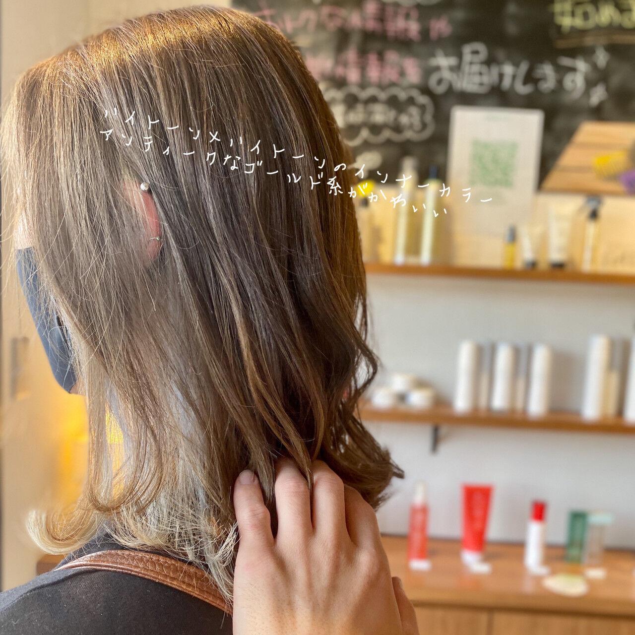 ストリート インナーカラー ボブ 透明感カラーヘアスタイルや髪型の写真・画像