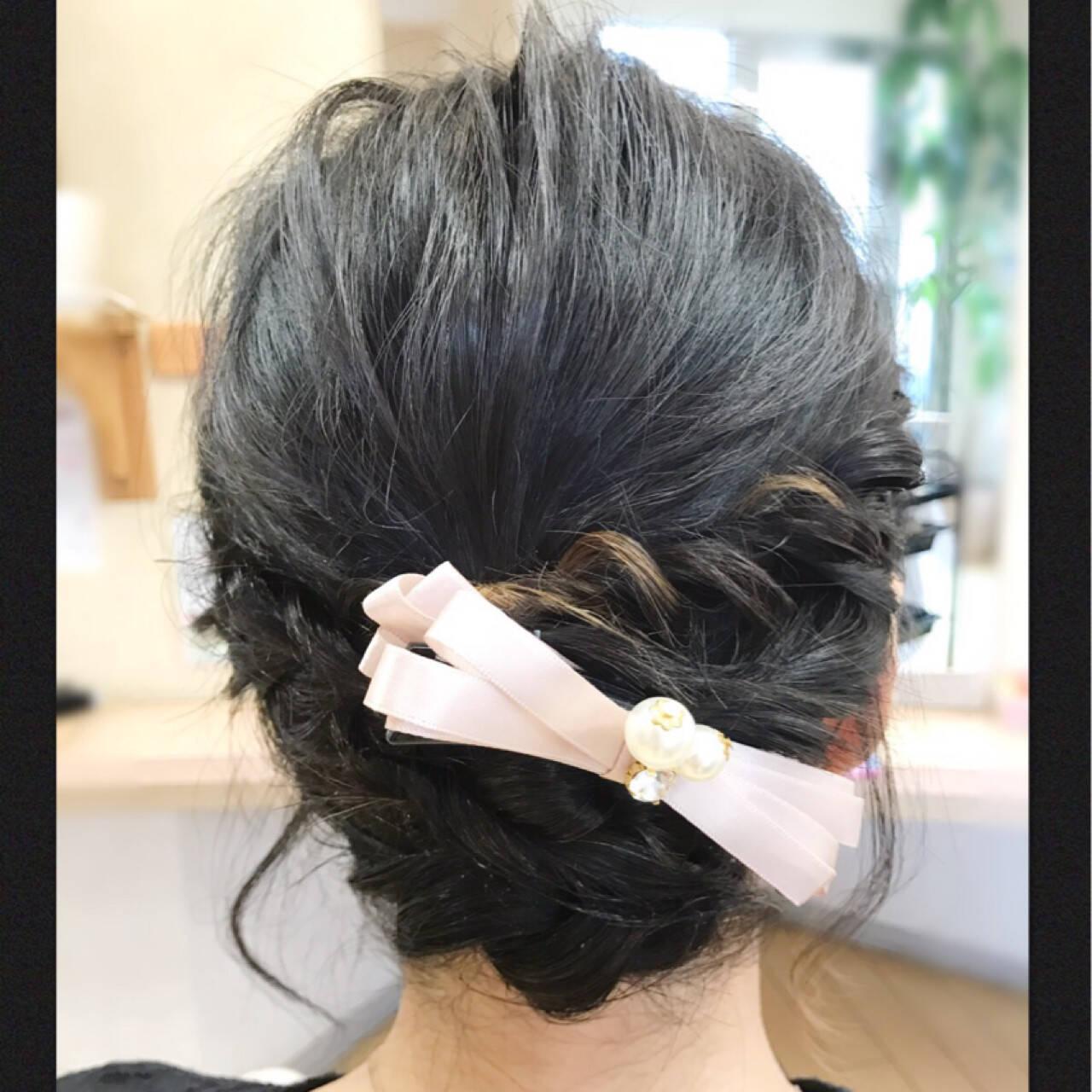編み込み ボブ バナナクリップ 結婚式ヘアスタイルや髪型の写真・画像